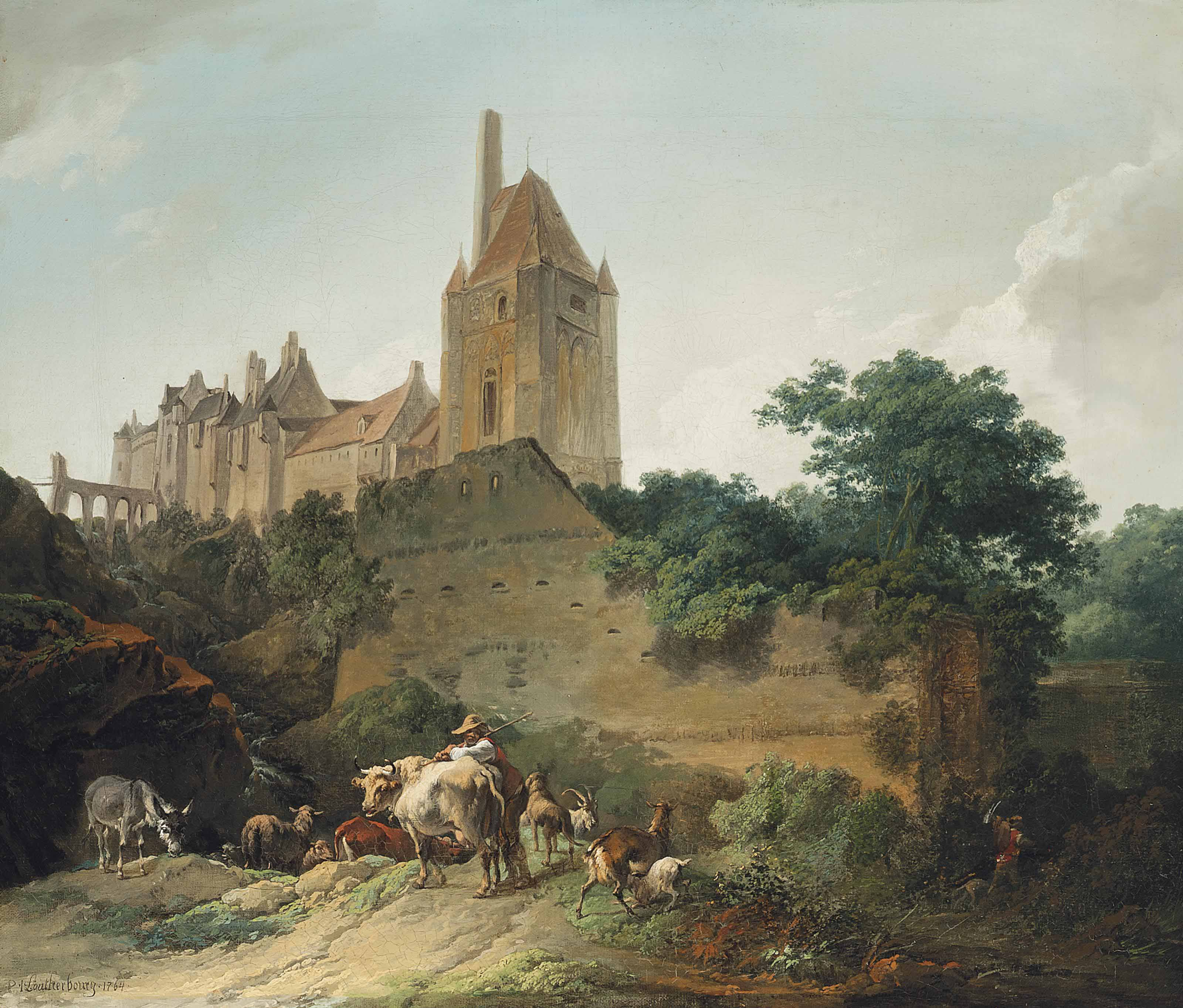 A view of a castle with a herdsman, his sheep, goats and a donkey