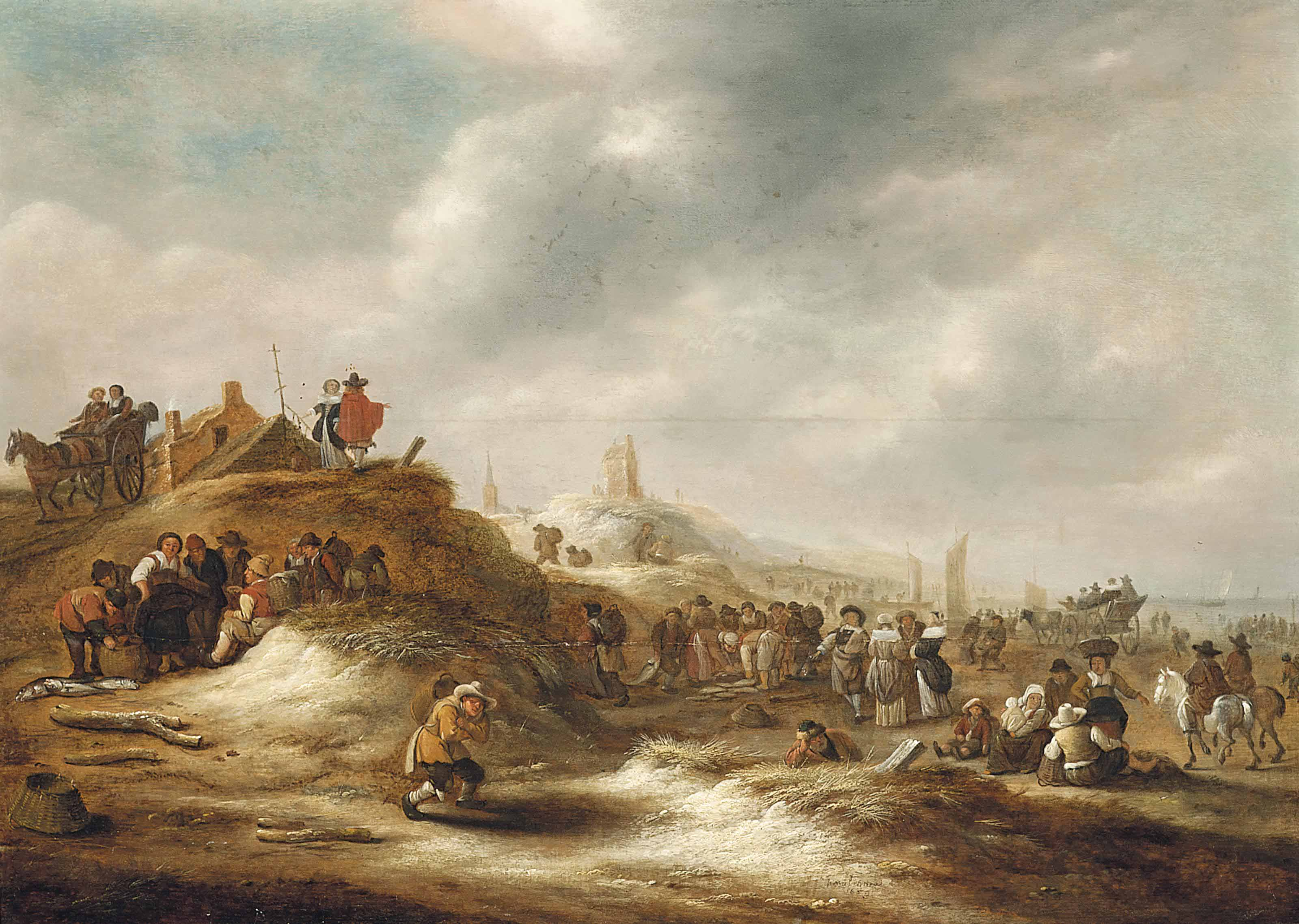 The beach at Scheveningen, with elegant figures and fishermen selling their catch