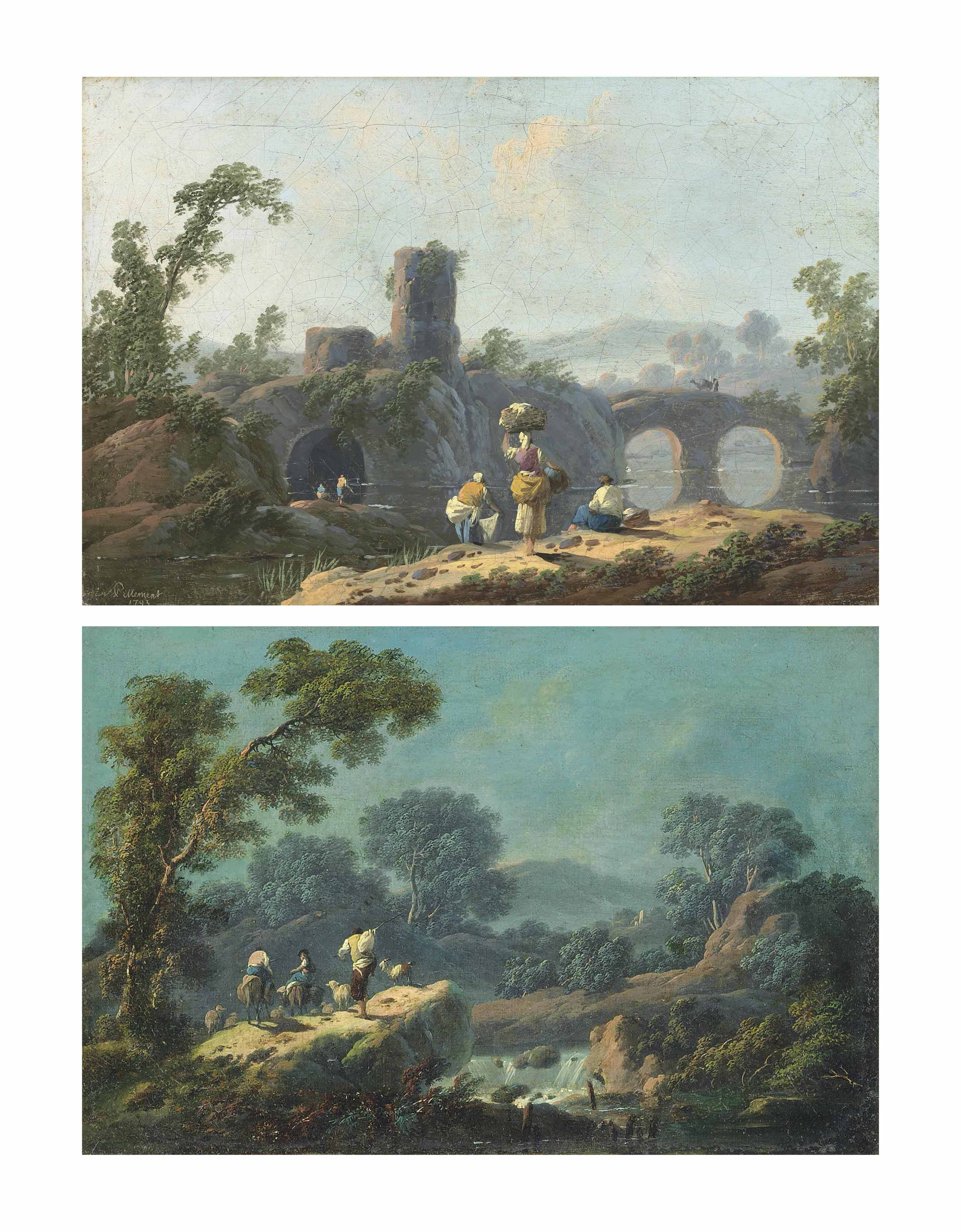 An Italianate landscape with washerwomen by a river, mountains beyond; and An Italianate wooded landscape at dusk, with herdsmen and their flock near a waterfall, mountains beyond