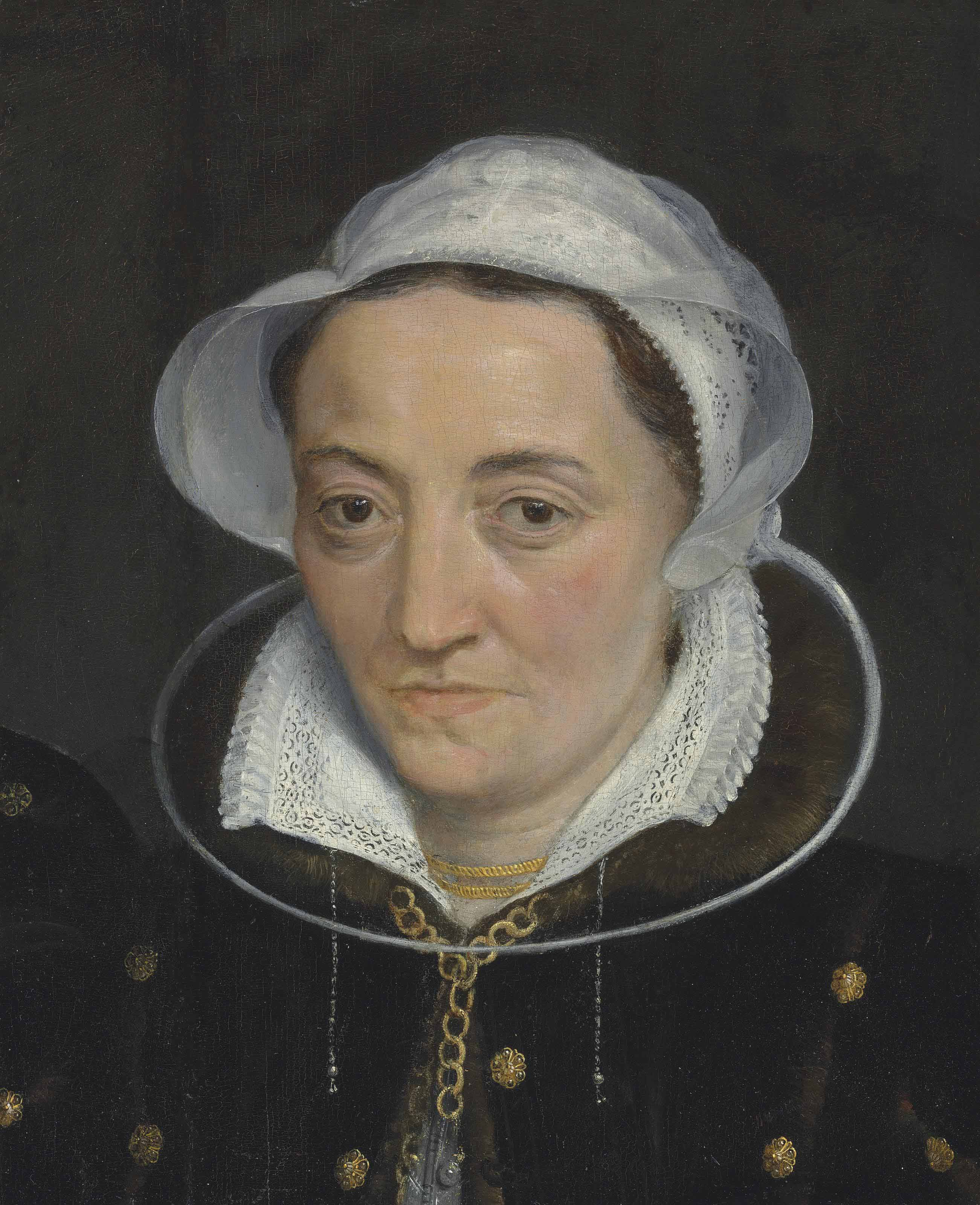 Portrait of a lady, bust-length, in a black fur-lined coat with gold fittings, a gold necklace and a white cap