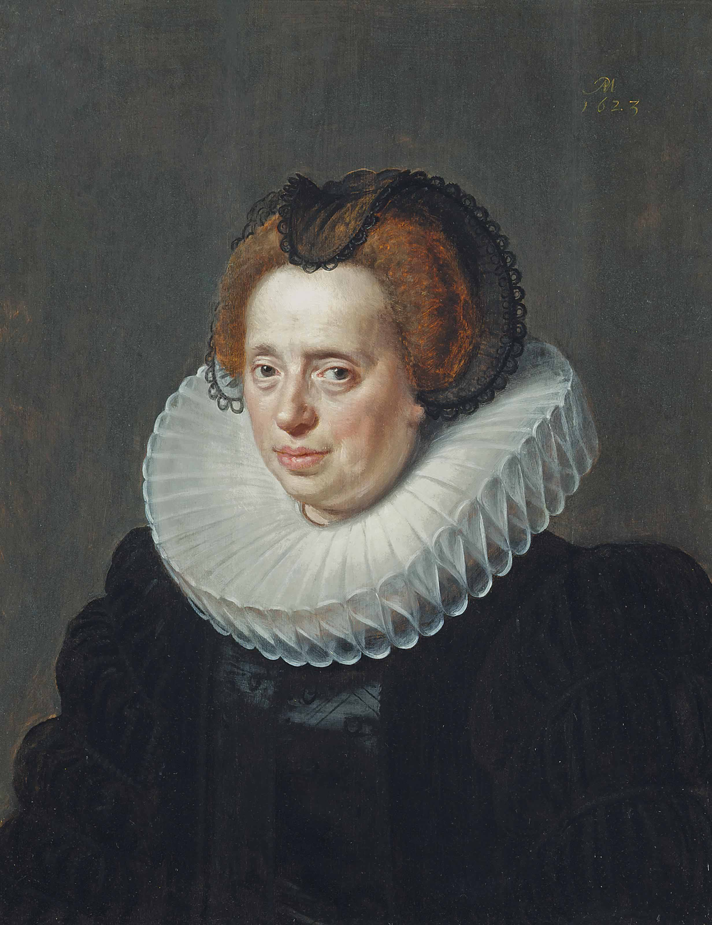 Portrait of a lady, bust-length, in a black embroidered dress and a ruff