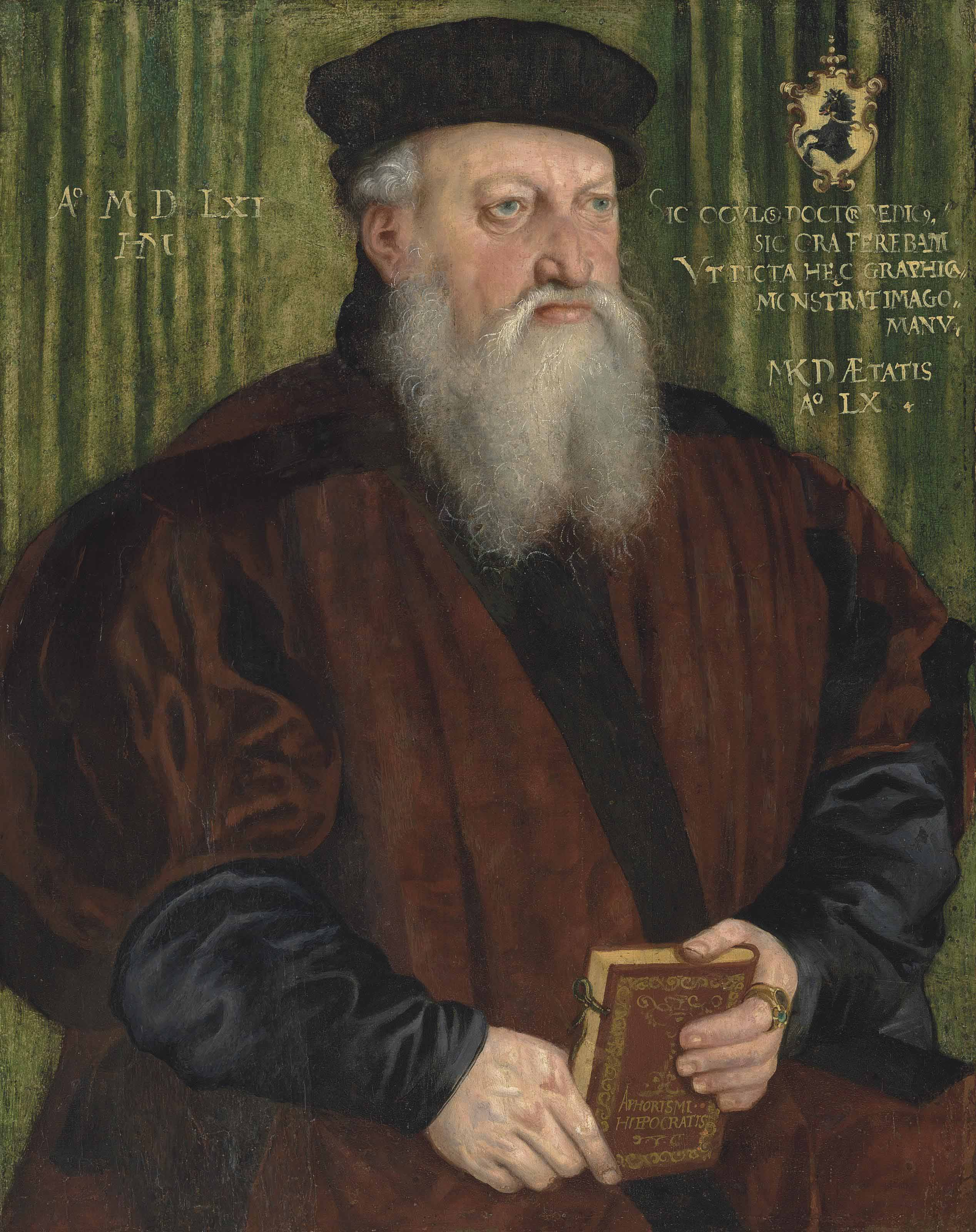Portrait of Martin Klostermair (b. 1502), aged 60, half-length, in a brown coat and black hat, holding a book
