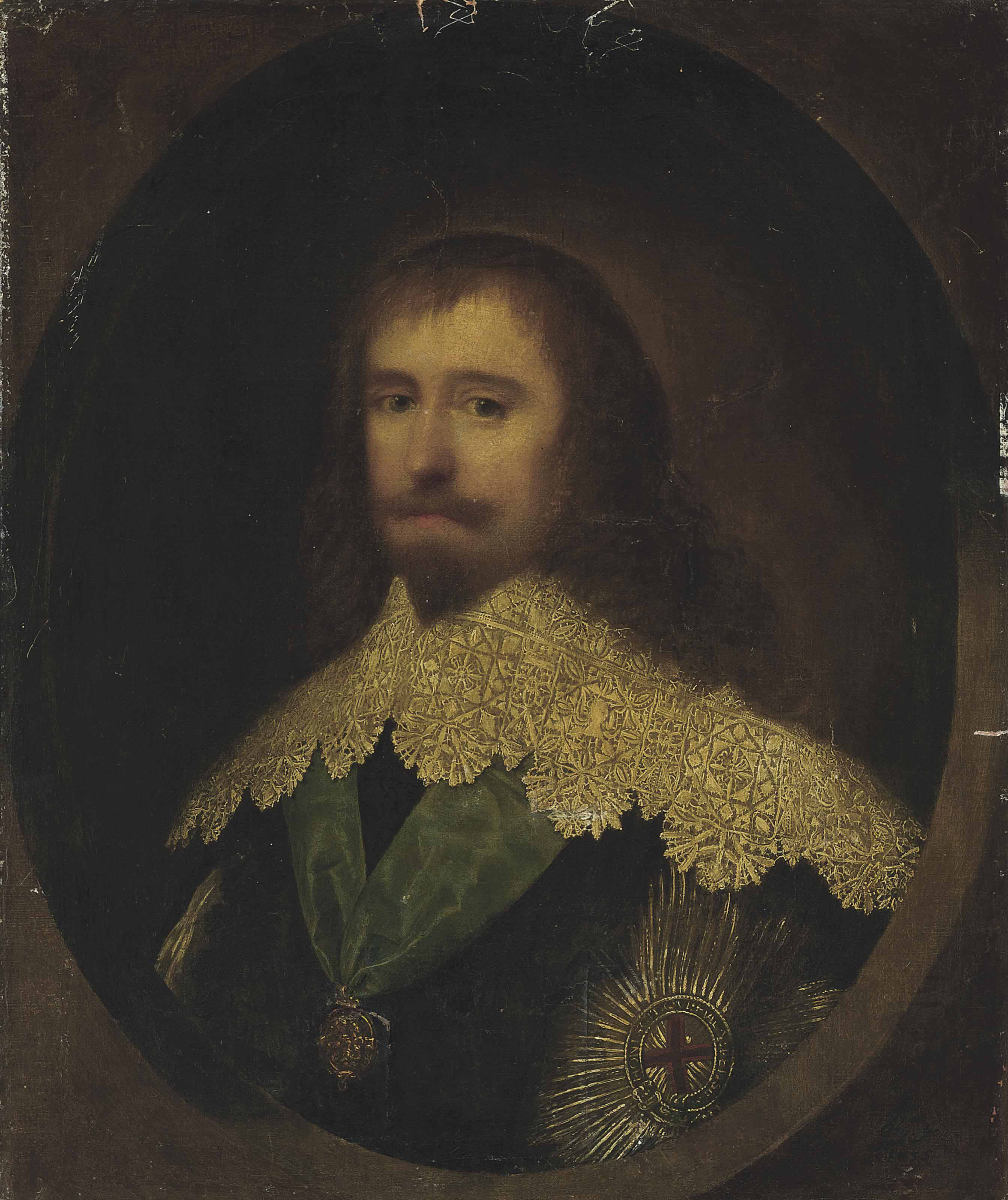 Portrait of a gentleman, possibly Philip Herbert, 1st Earl of Montgomery and 4th Earl of Pembroke (1584-1650), bust-length, with a lace collar and wearing the badge and star of the Order of the Garter, in a feigned oval