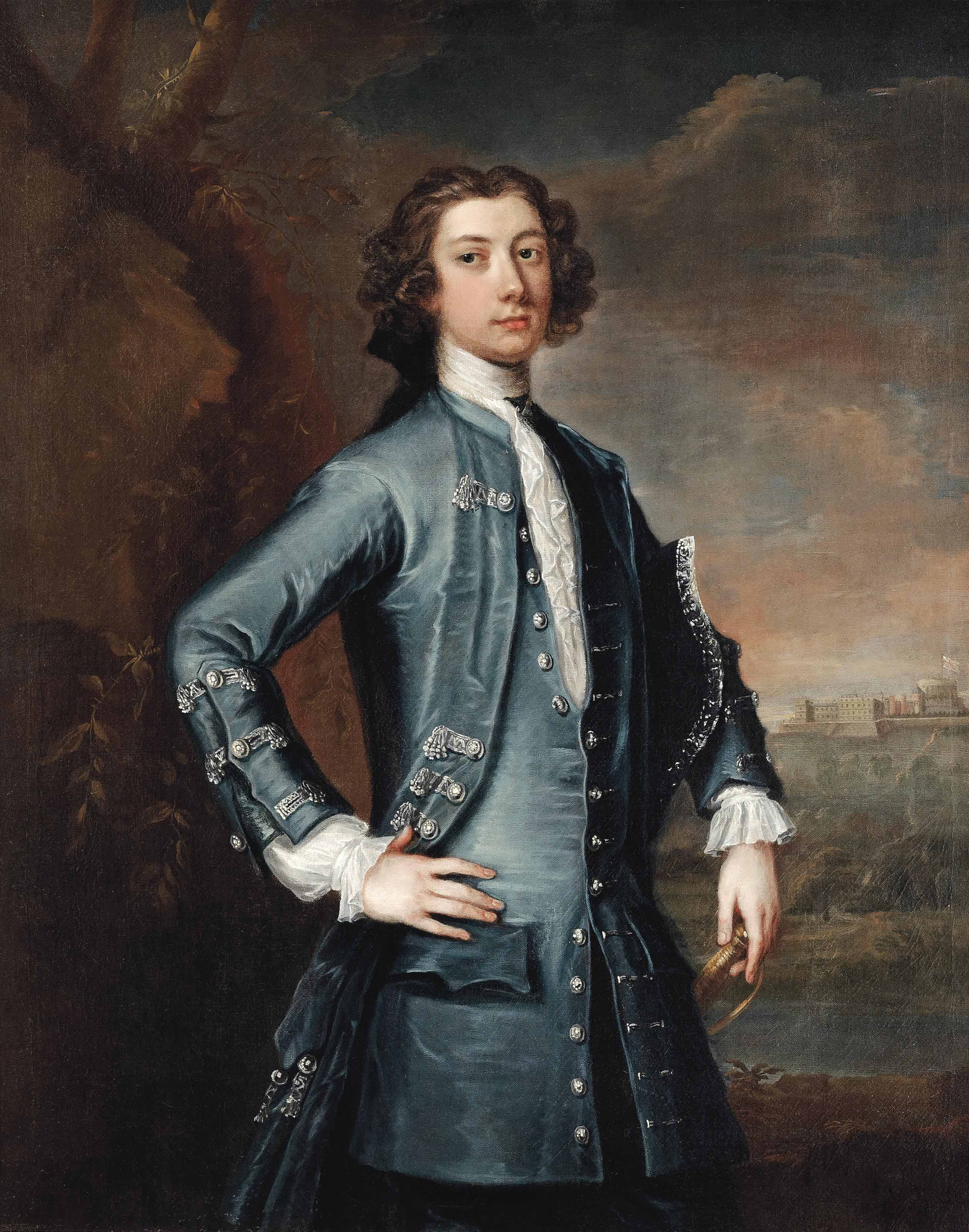 Portrait of George Montagu-Dunk, 2nd Earl of Halifax (1716–1771), three-quarter-length, in a blue waistcoat and coat, his tricorn under his left arm, with Windsor Castle in the background