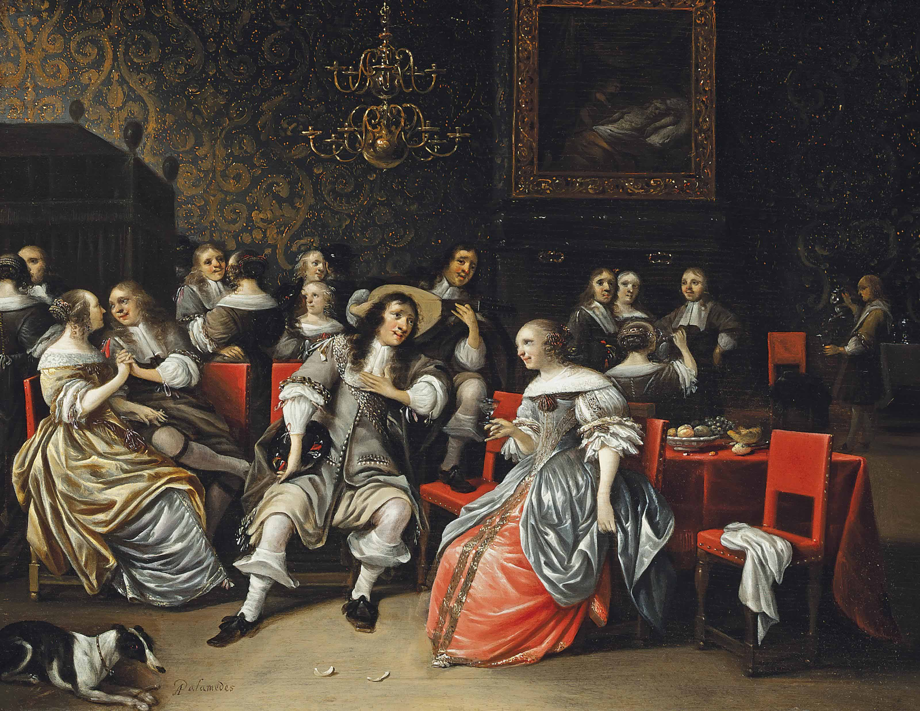 Elegant company drinking and music making in an interior