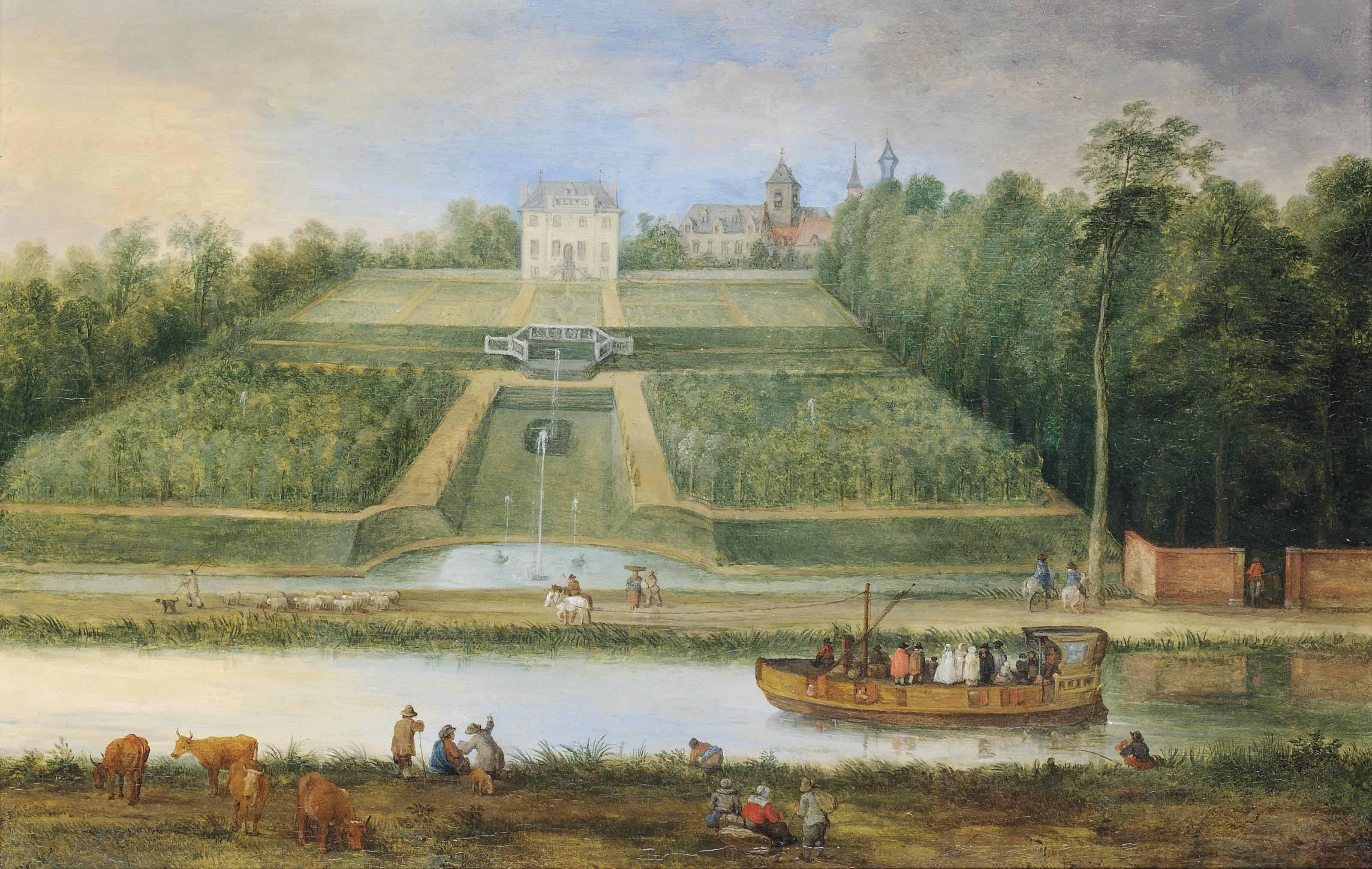 A river landscape with a ferry, fountains and a villa with garden