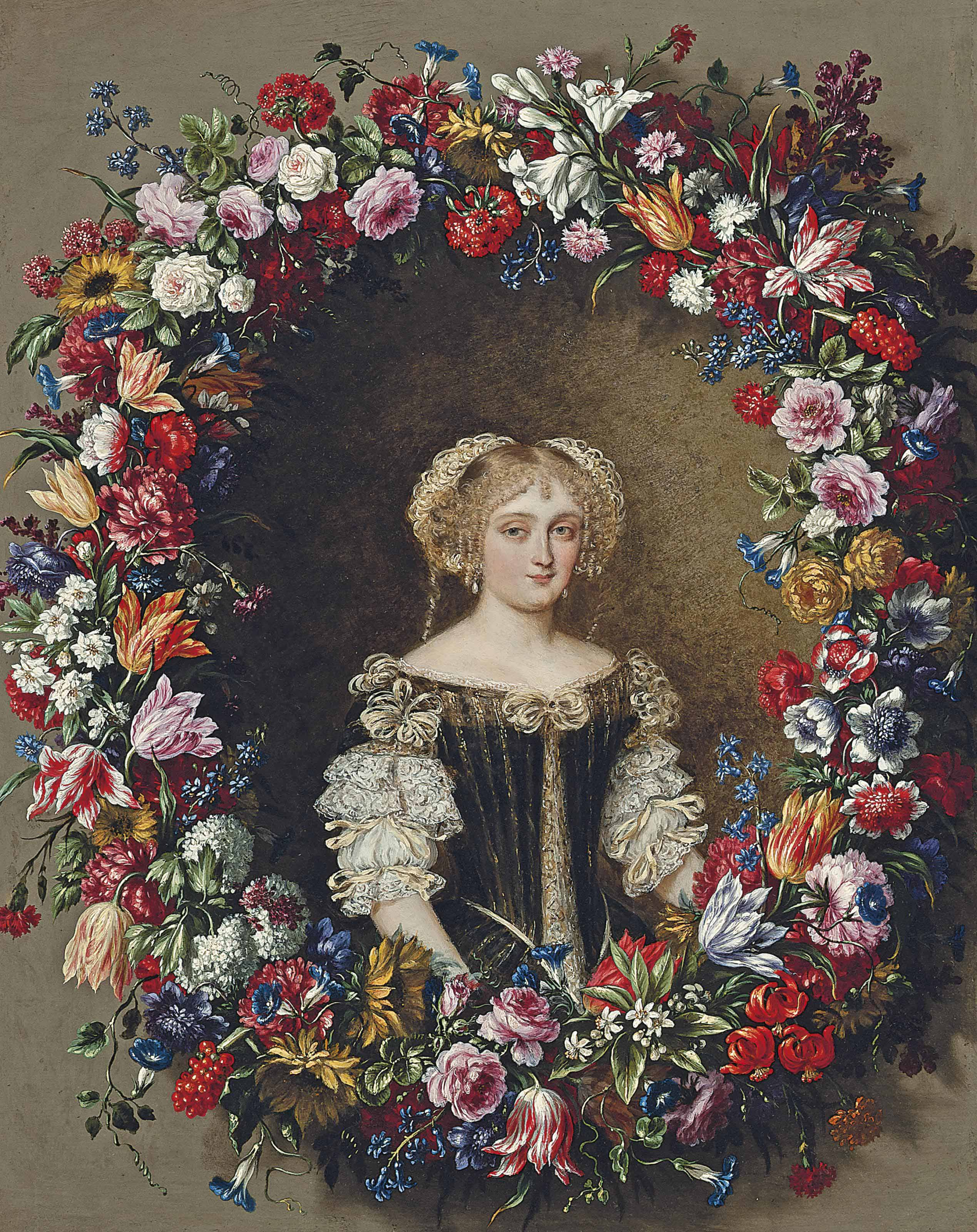 Portrait of a lady, traditionally identified as a member of the Colonna family, small half-length, in a green dress with a white chemise, surrounded by a garland of flowers.