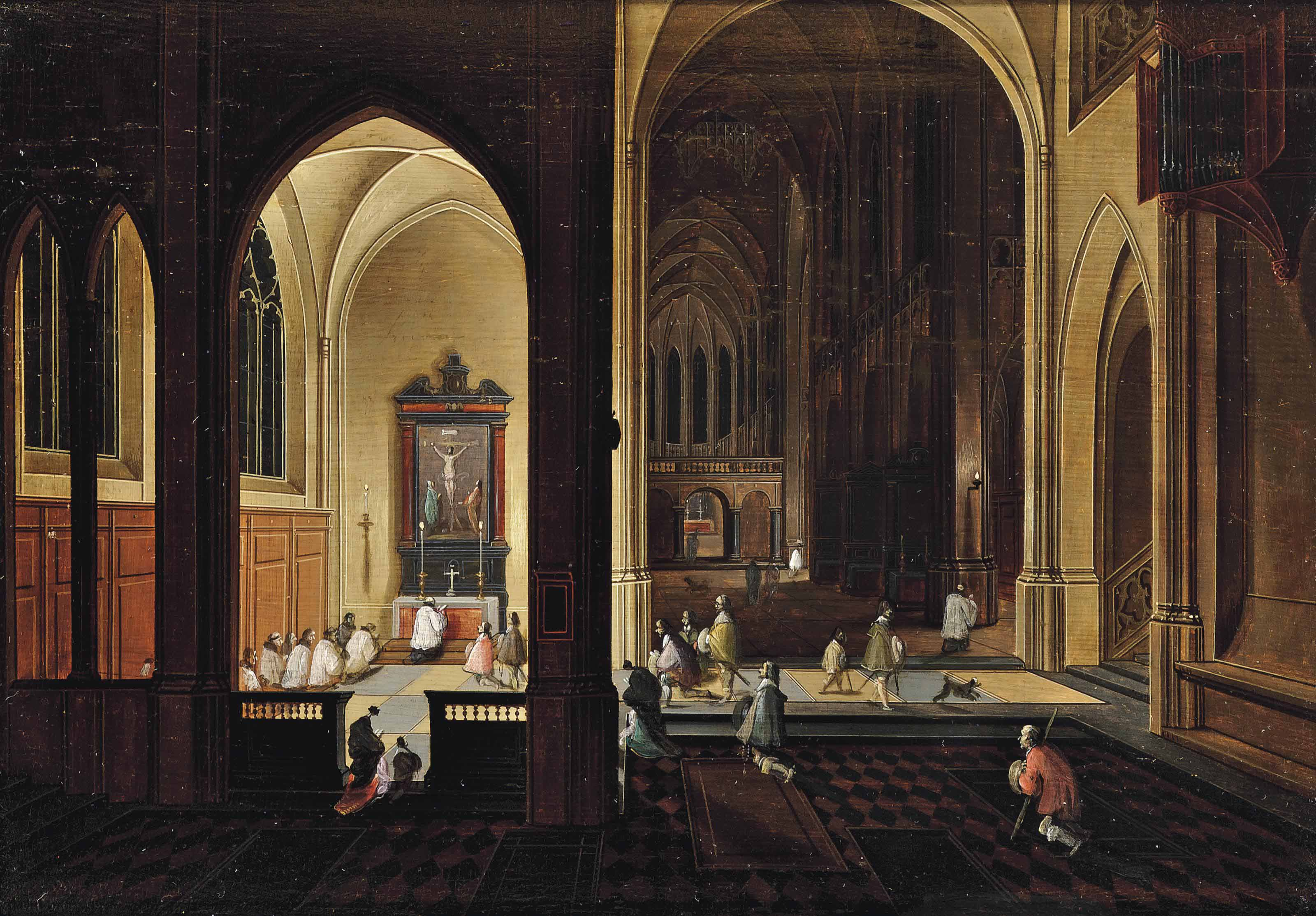 The interior of a gothic cathedral by candlelight, with elegant company by a side altar