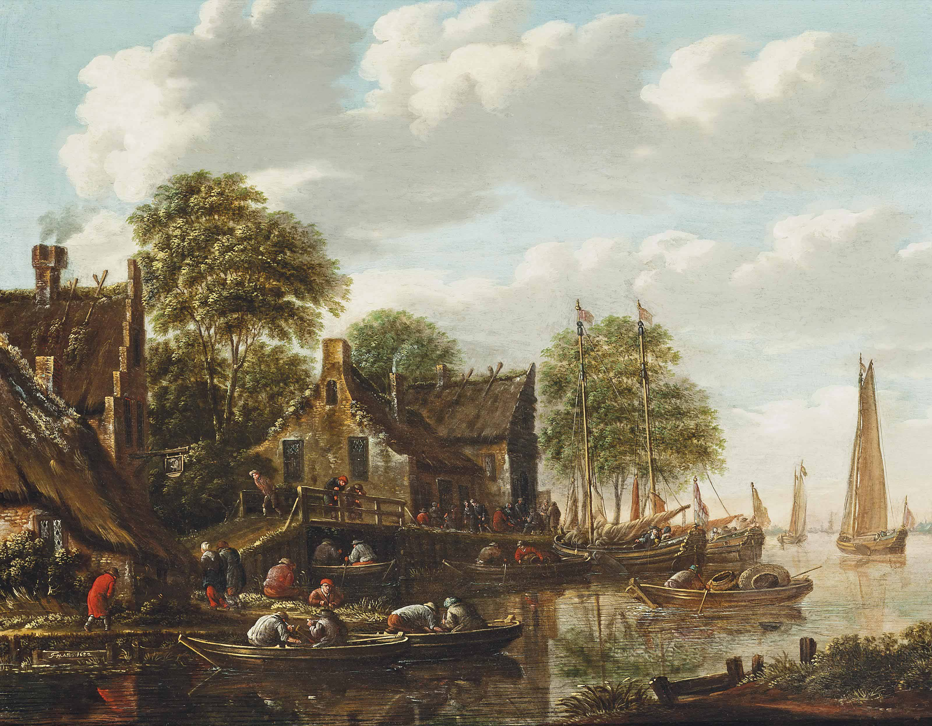 A river landscape with fishermen on boats and other shipping vessels