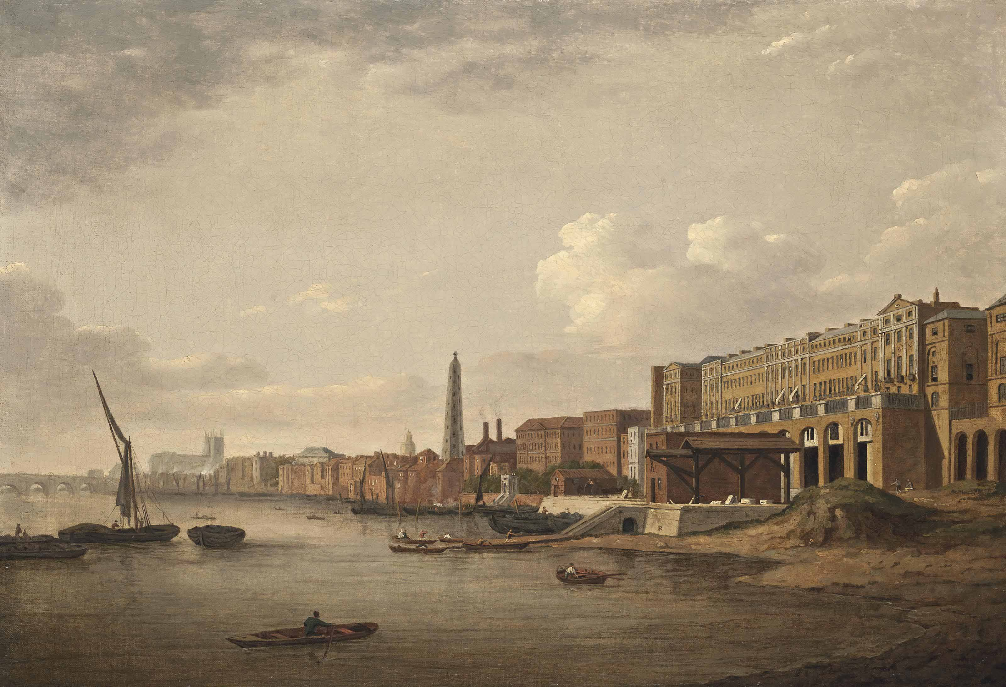 View of the London Riverfront from Westminster to the Adelphi