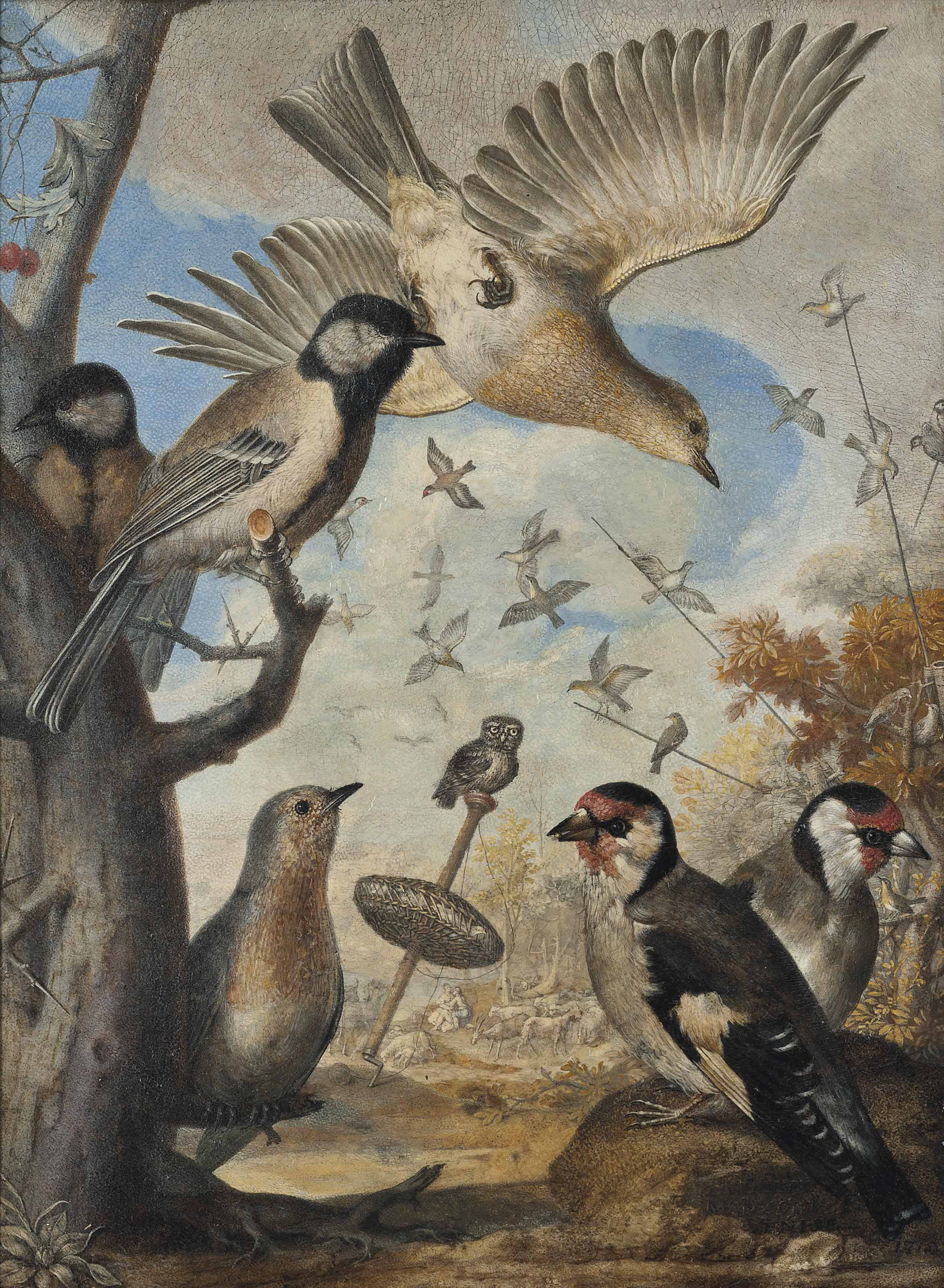 Finches and other small birds by a tree stump, an owl perched on a bird trap and shepherds with their flocks beyond