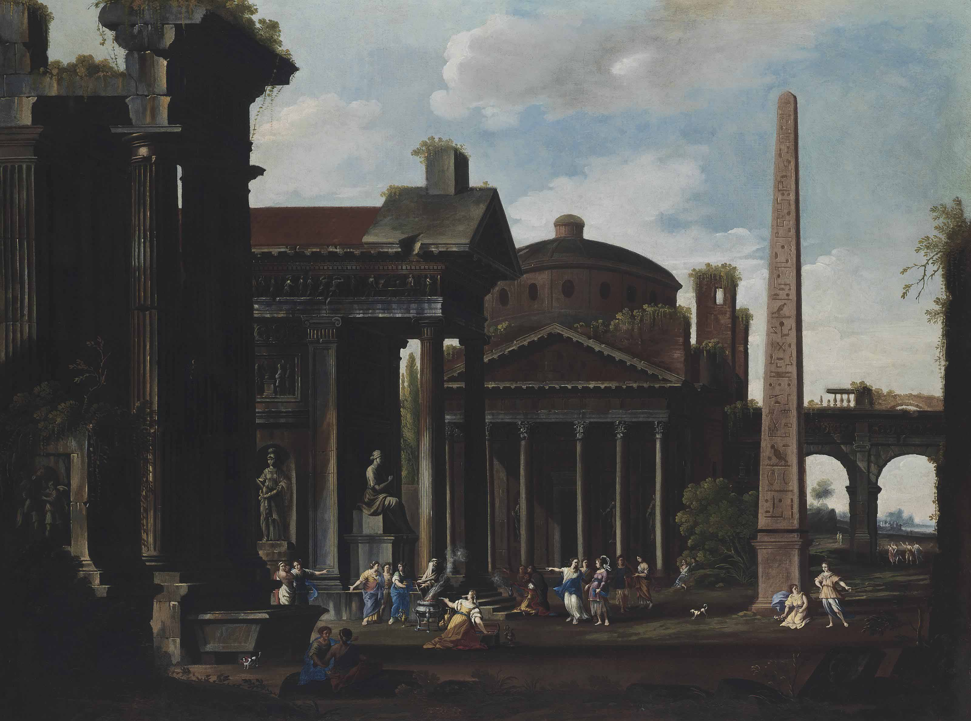 An architectural capriccio of the Pantheon and other buildings, with figures making a sacrifice to a goddess, figures conversing and dancing amongst the ruins beyond