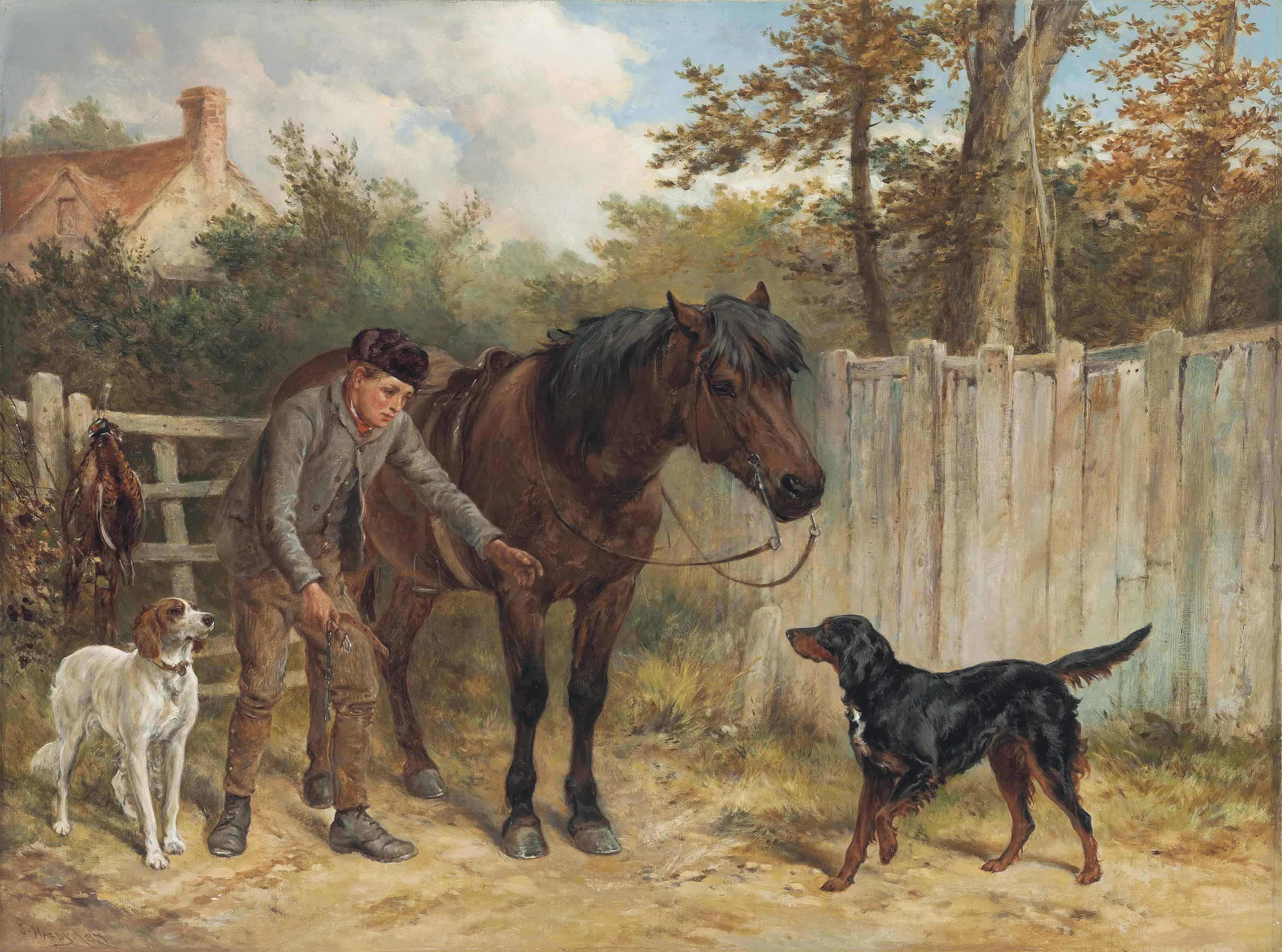 A young gamekeeper with a pony and dogs
