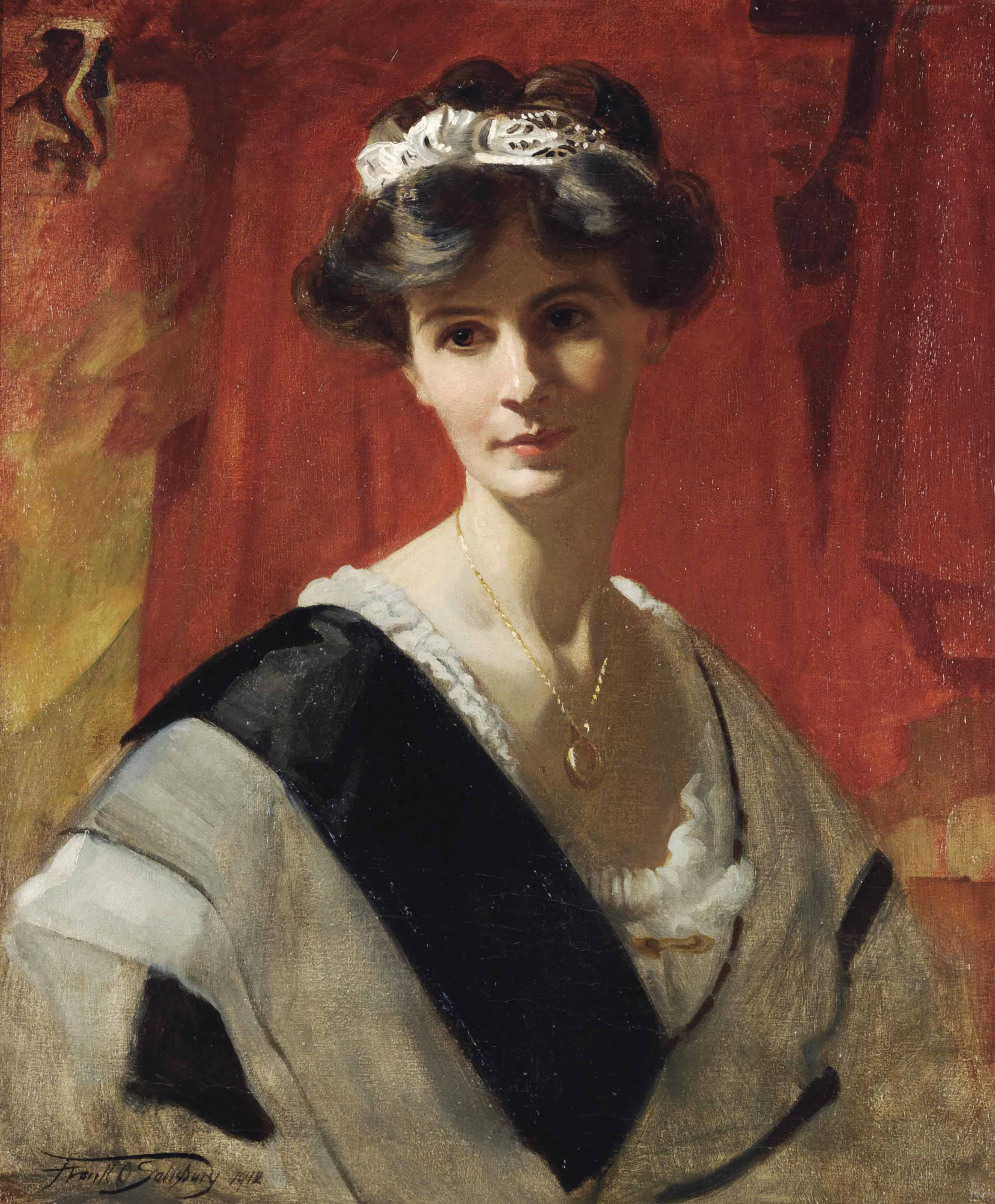 Portrait of Mrs Florence Cox, née Lane, half-length, in a white dress with a black sash