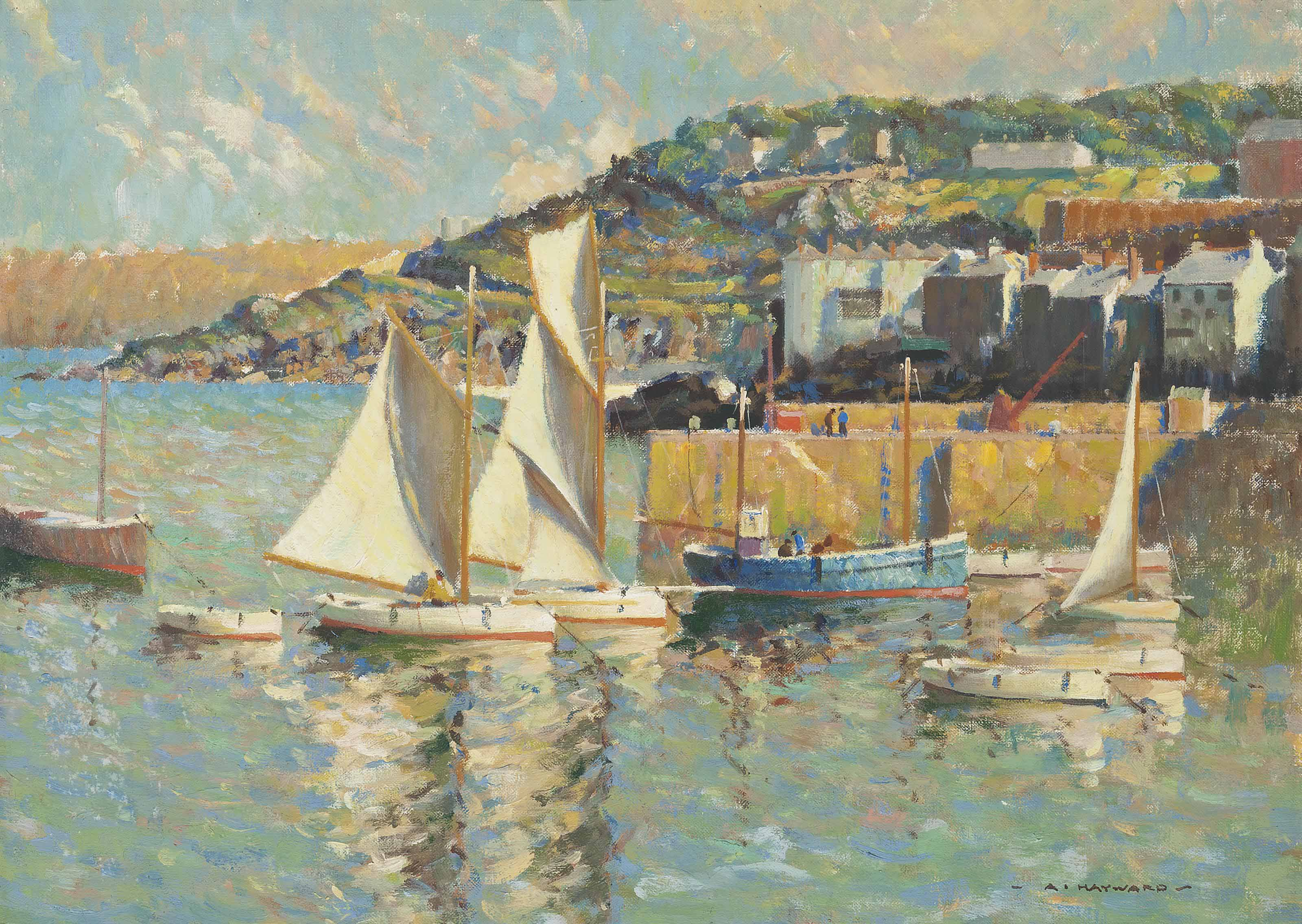 Sailing boats in the harbour of St. Ives