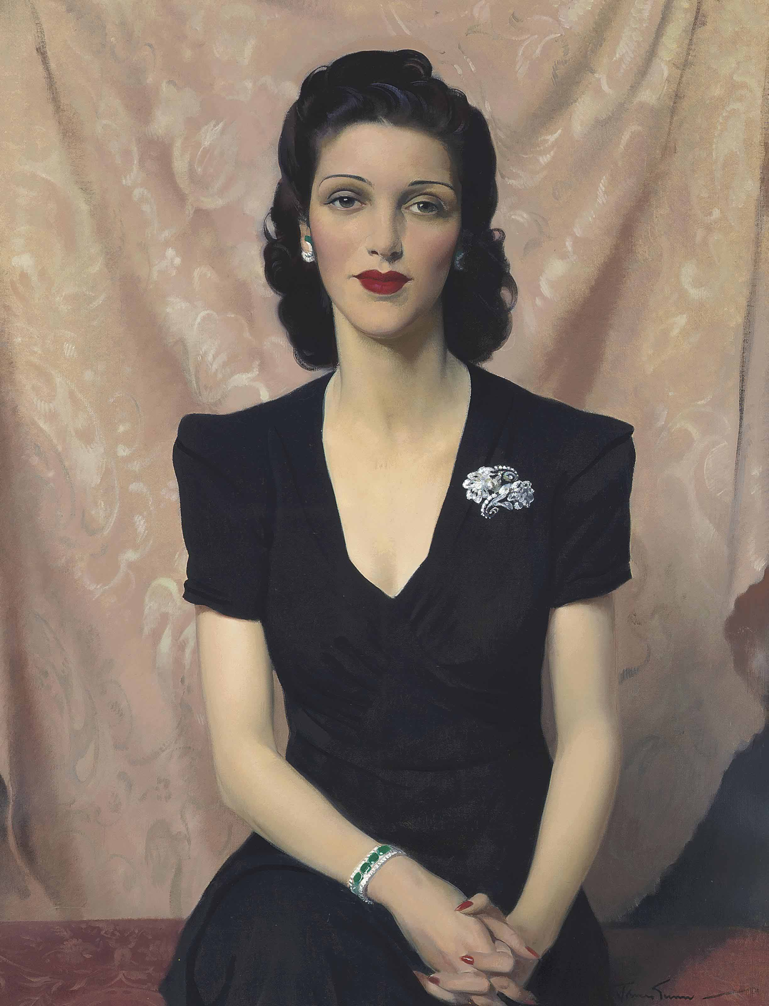 Portrait of Mrs Francine Clore née Halphen, in a black dress, wearing a diamond and emerald bracelet