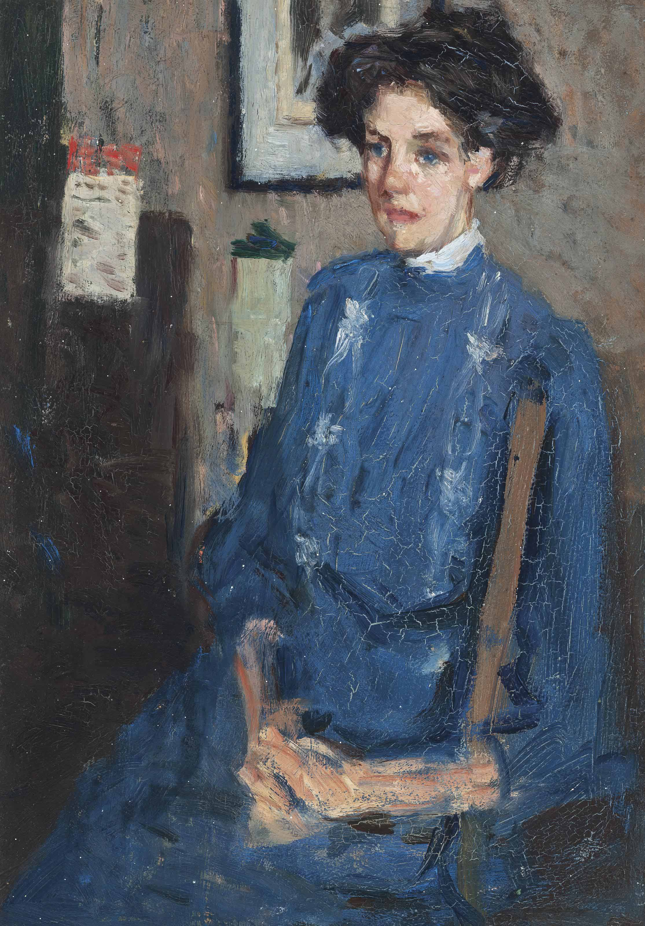 Portrait of a seated lady in a blue dress