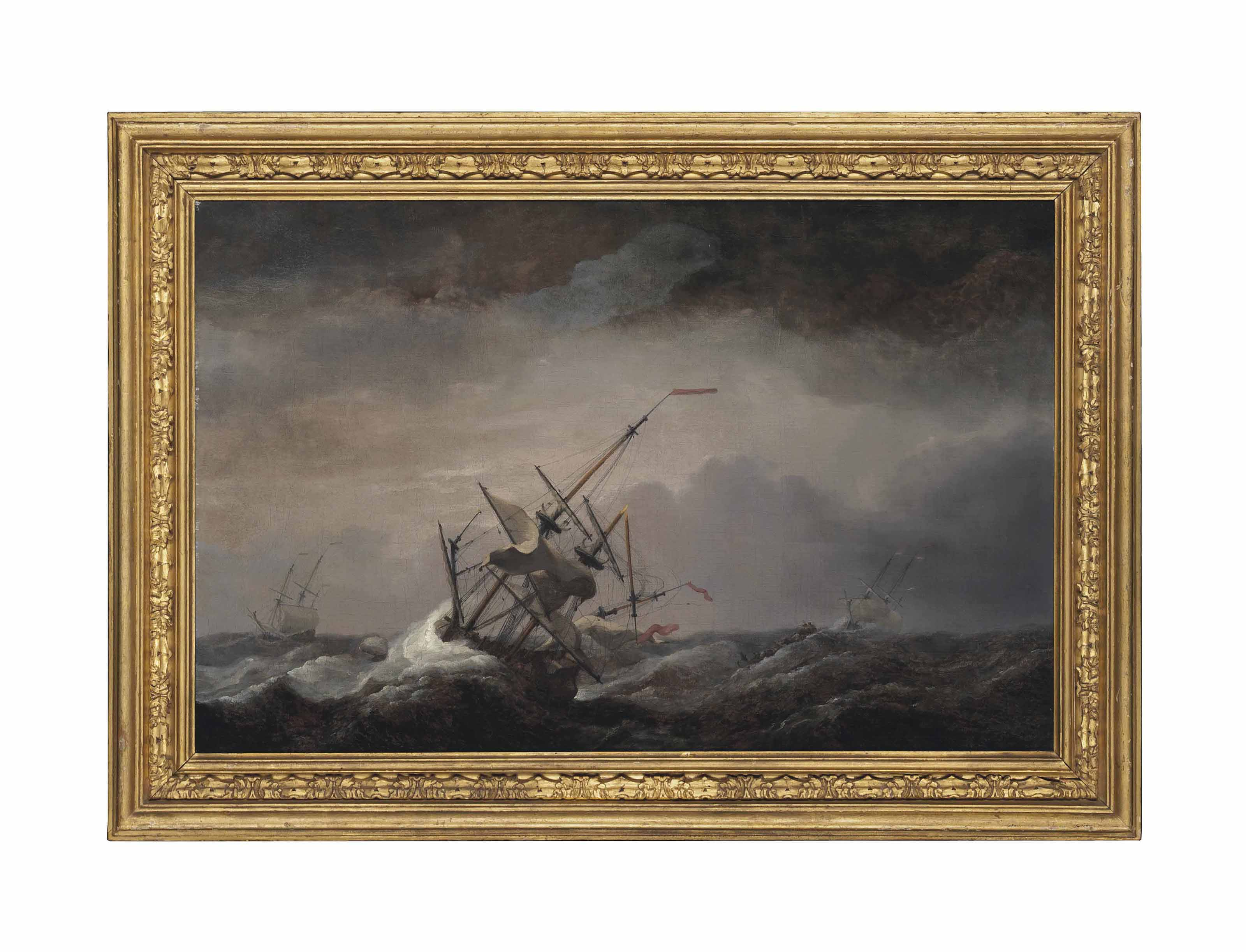 A dismasted English ship at sea driven before a gale, her headsails aback, with other ships in a heavy sea