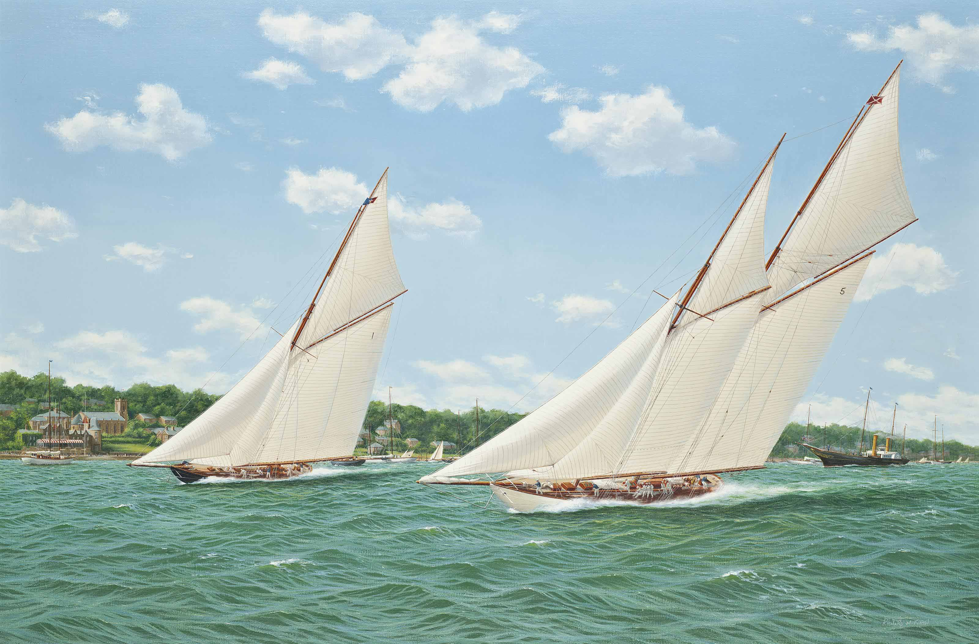 Britannia and Westward racing off the Royal Yacht Squadron, Cowes
