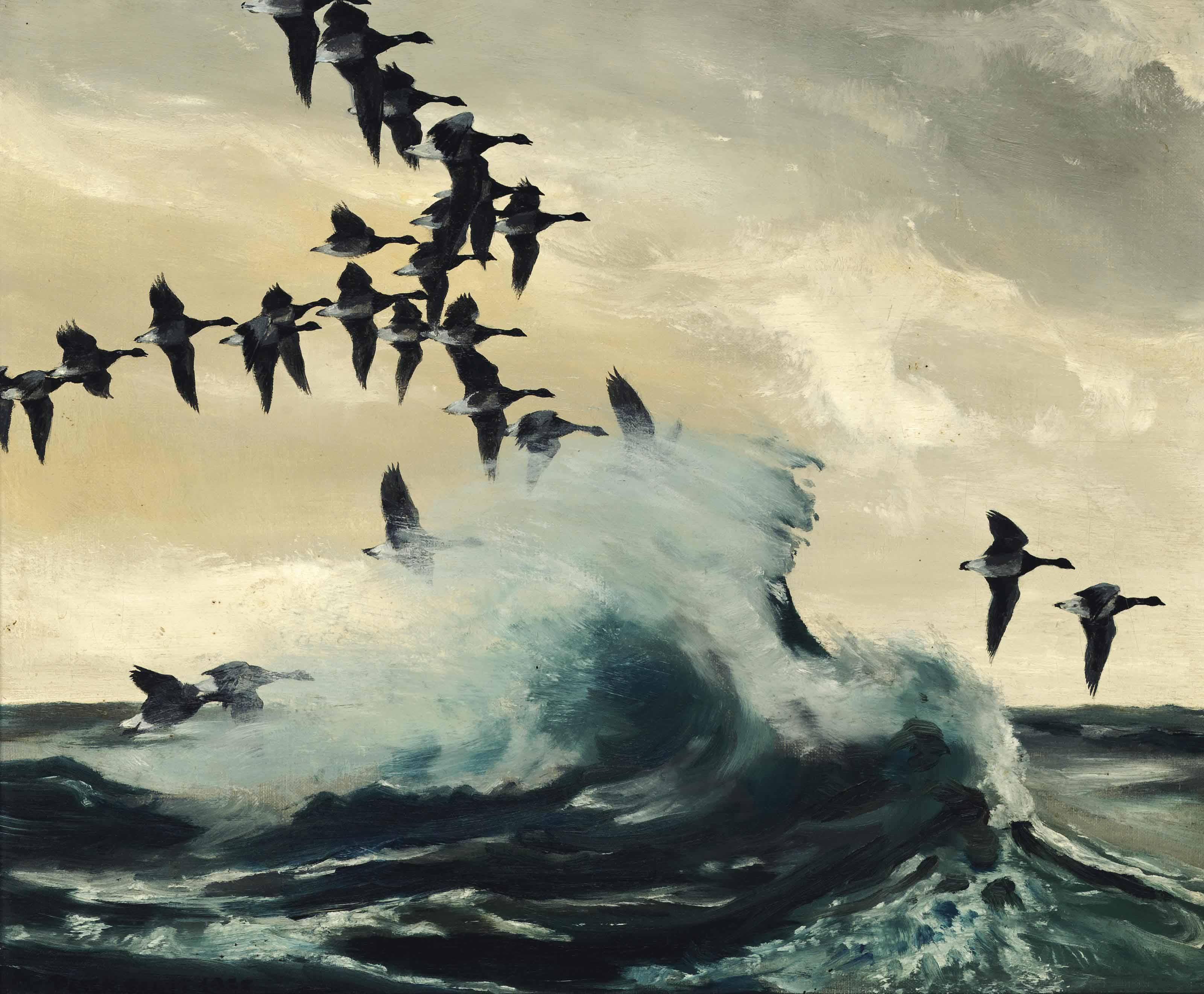 """""""When the tide was up, the Brent geese flew along the shore, often hidden by the breaking waves"""""""