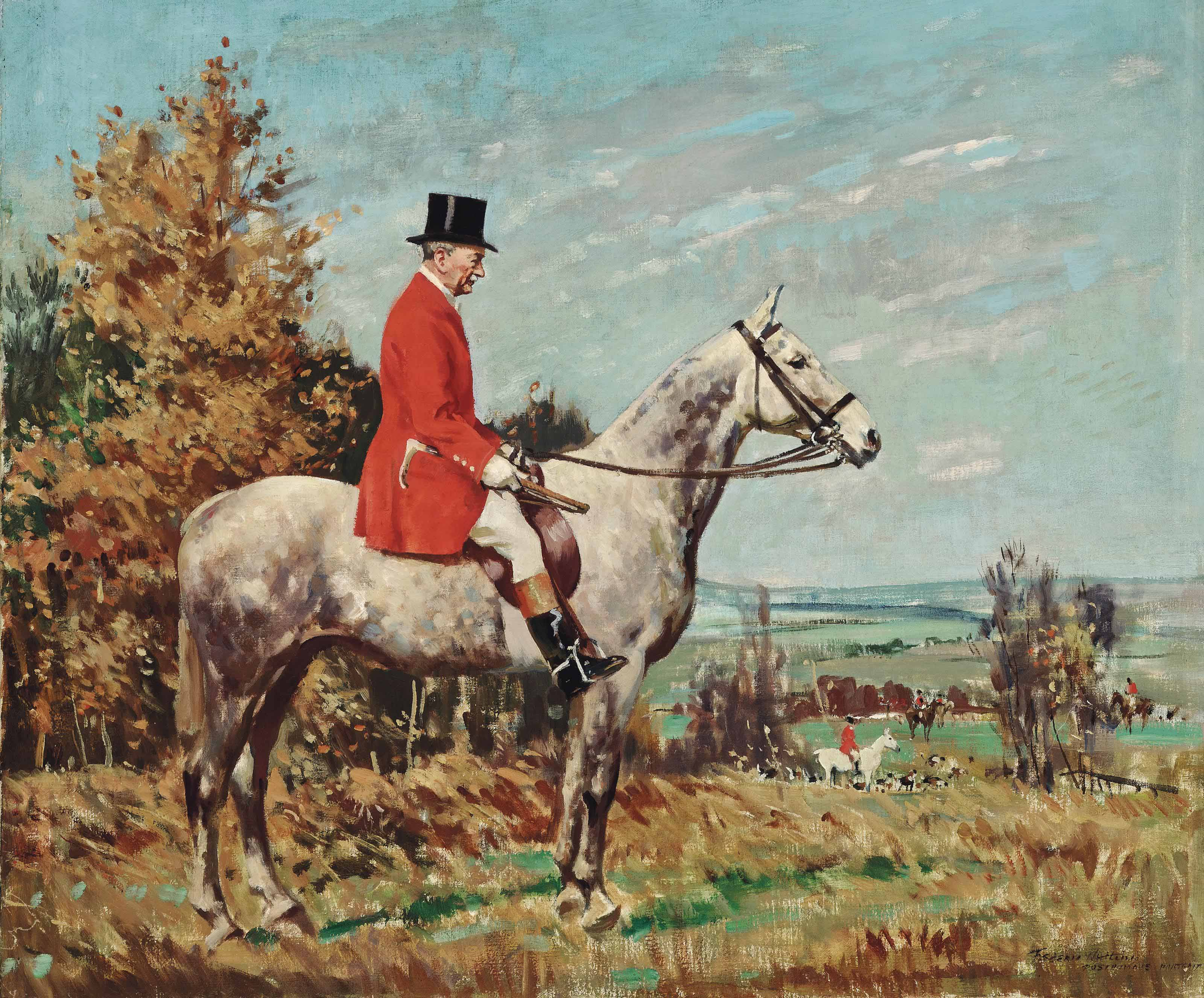 George Campbell Esq., on a dappled grey hunter