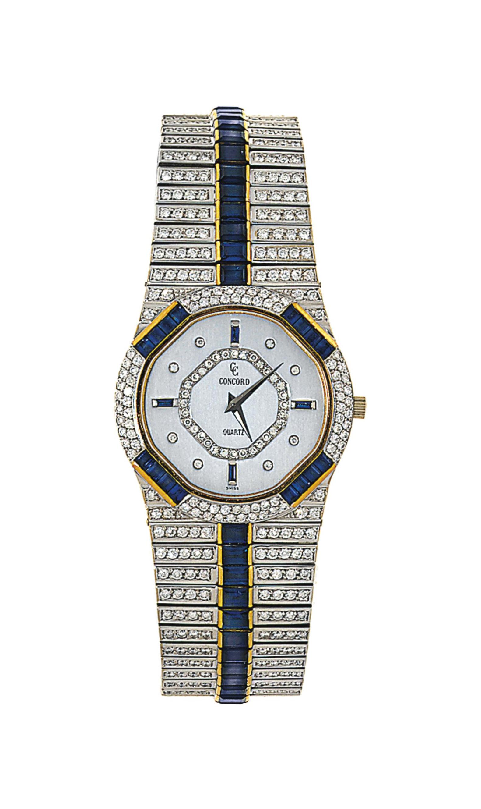 A sapphire and diamond-set quartz wristwatch, by Concord
