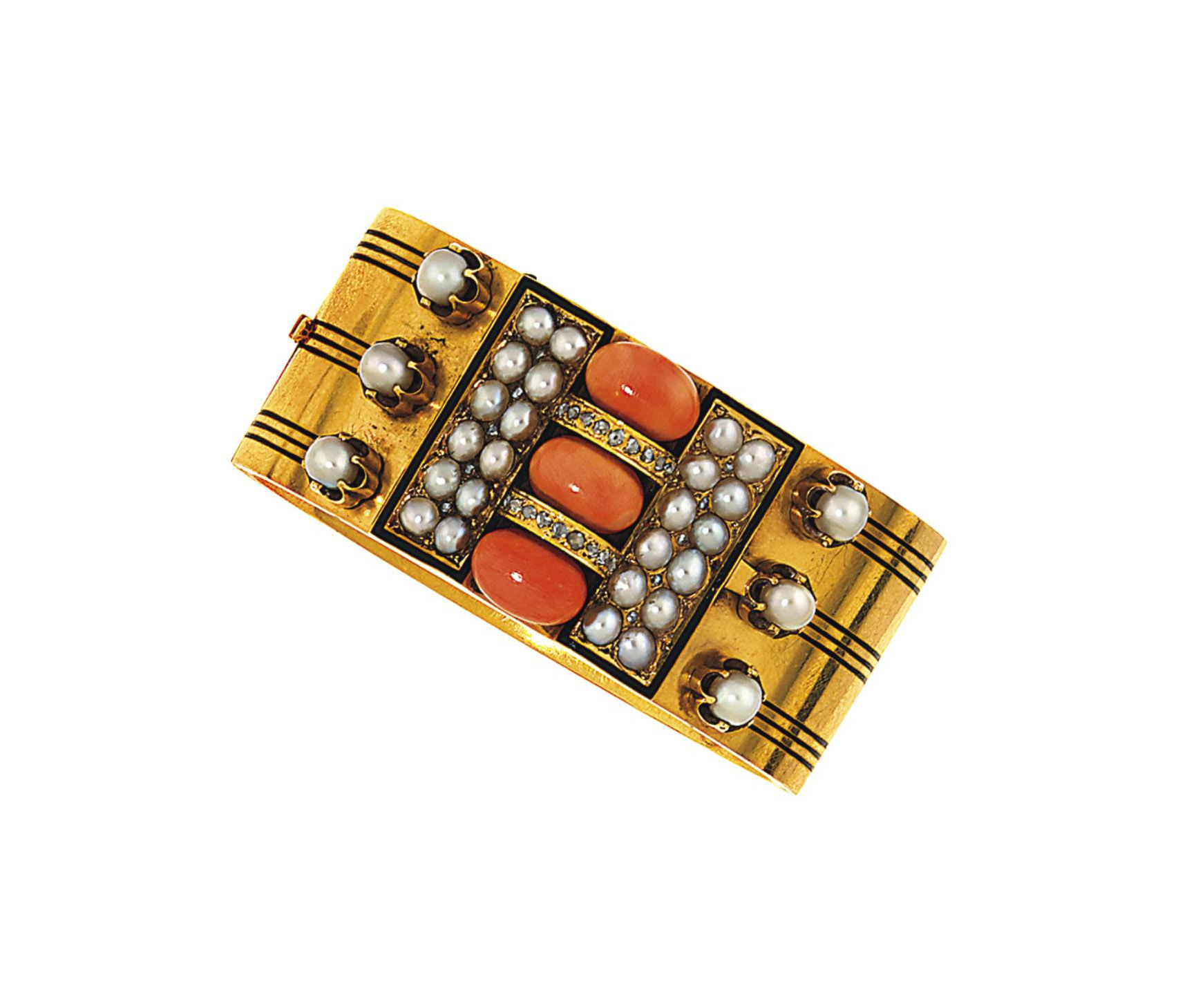 A late 19th century coral, pearl, diamond and enamel bangle, by John Brodgen