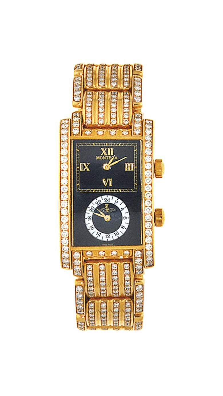 A diamond-set dual time wristwatch, by Montega