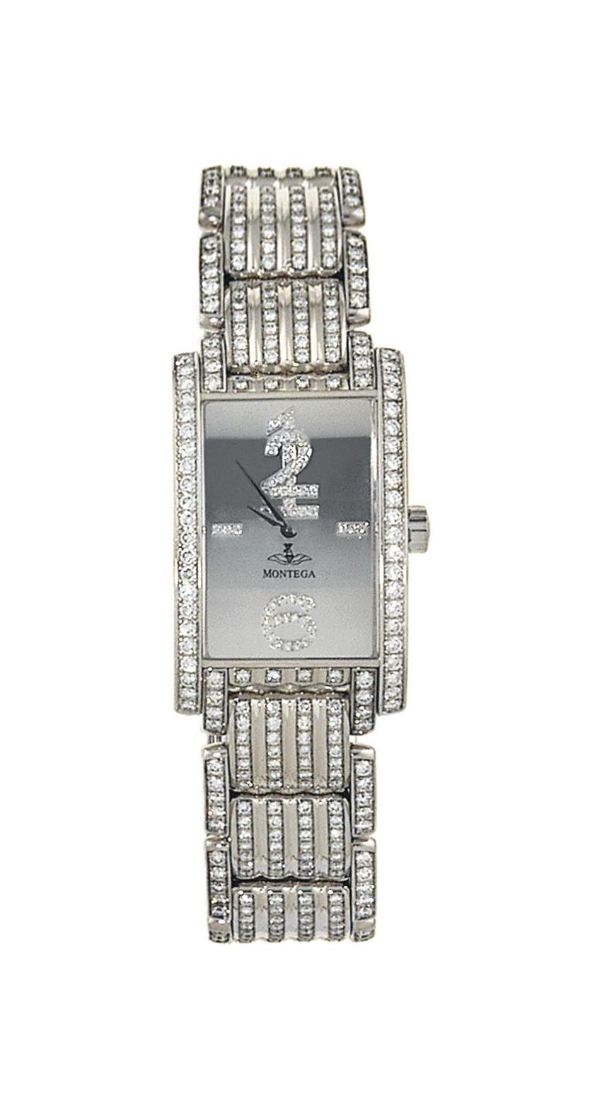 An 18ct white gold and diamond quartz wristwatch, by Montega