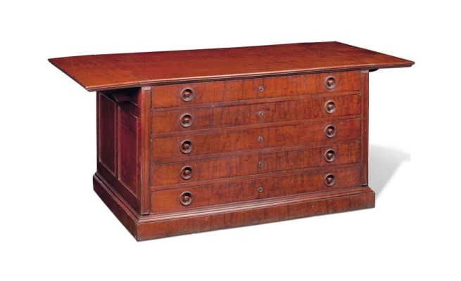 A FRENCH MAHOGANY PLAN CHEST