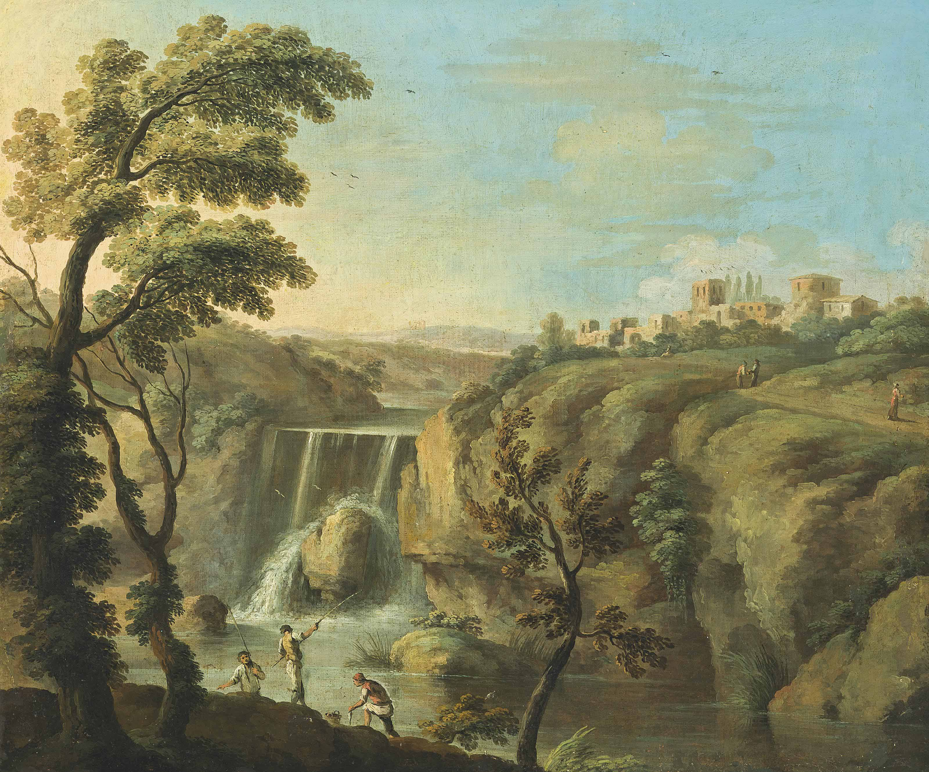 An extensive landscape with fishermen before a waterfall, a town beyond