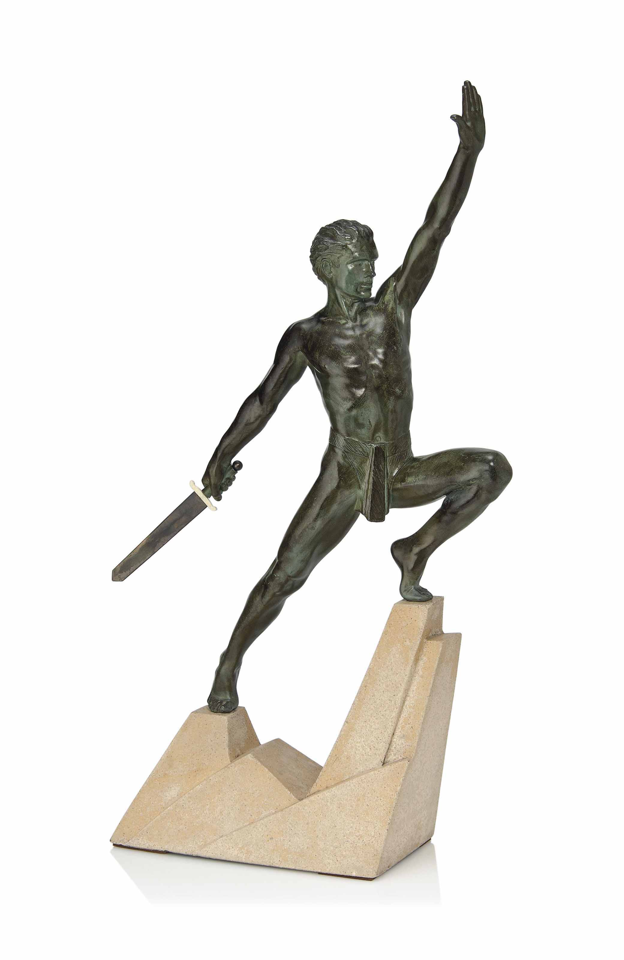 A MAX LE VERRIER (1891-1973) ART DECO COLD-PAINTED SPELTER AND IVORY FIGURE