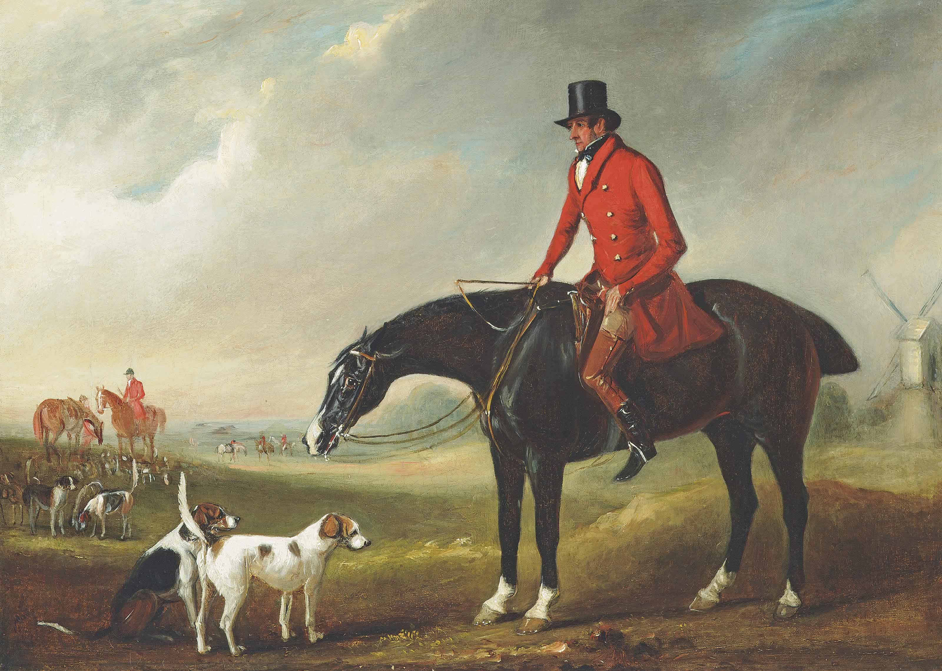 Portrait of a gentleman, traditionally identified as Thomas B. Hodgson, Master of the Holderness Hunt on his horse Comical