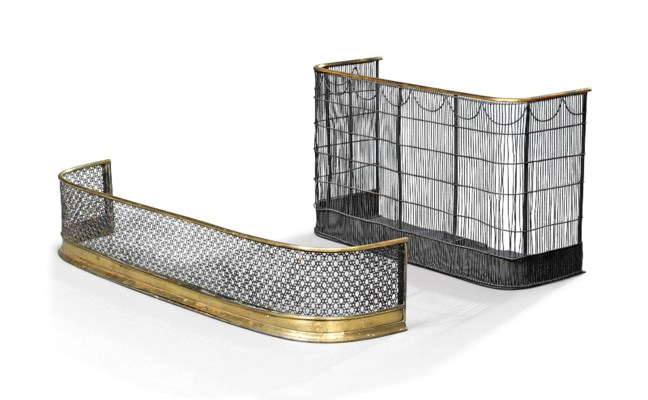 A REGENCY WIRE-MESH AND BRASS