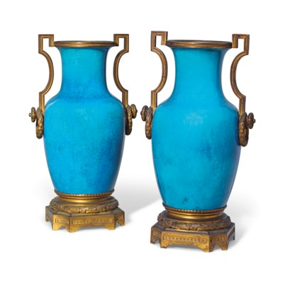 A PAIR OF FRENCH BLUE-GLAZED P