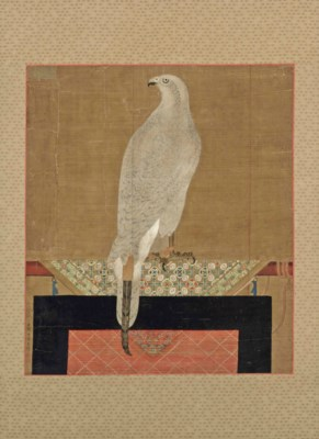 A CHINESE SILK PAINTING OF A H