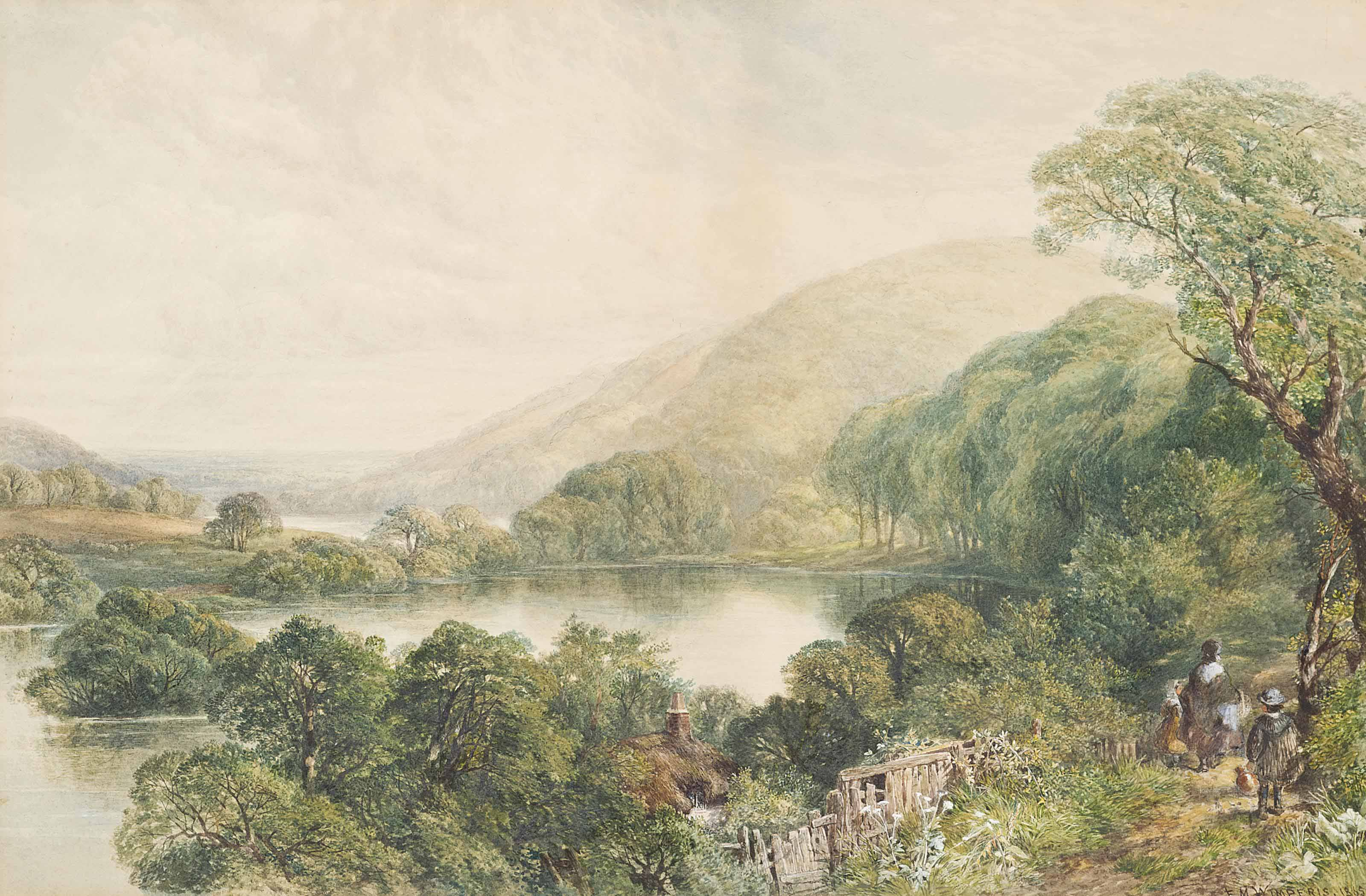 A mother with her children at Capel Curig, North Wales