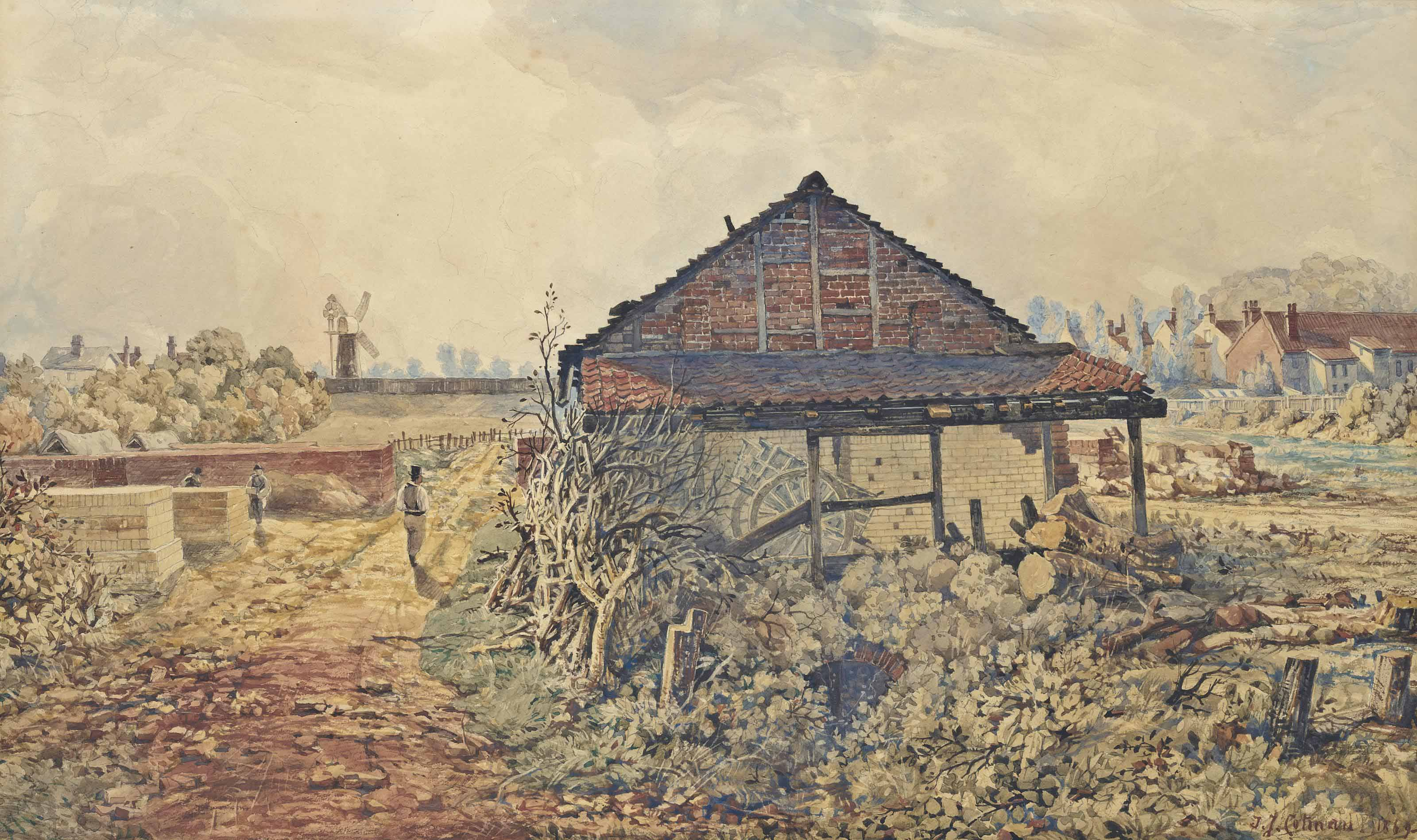A Brickmaker's Yard; and Figures on a country lane (one illustrated)
