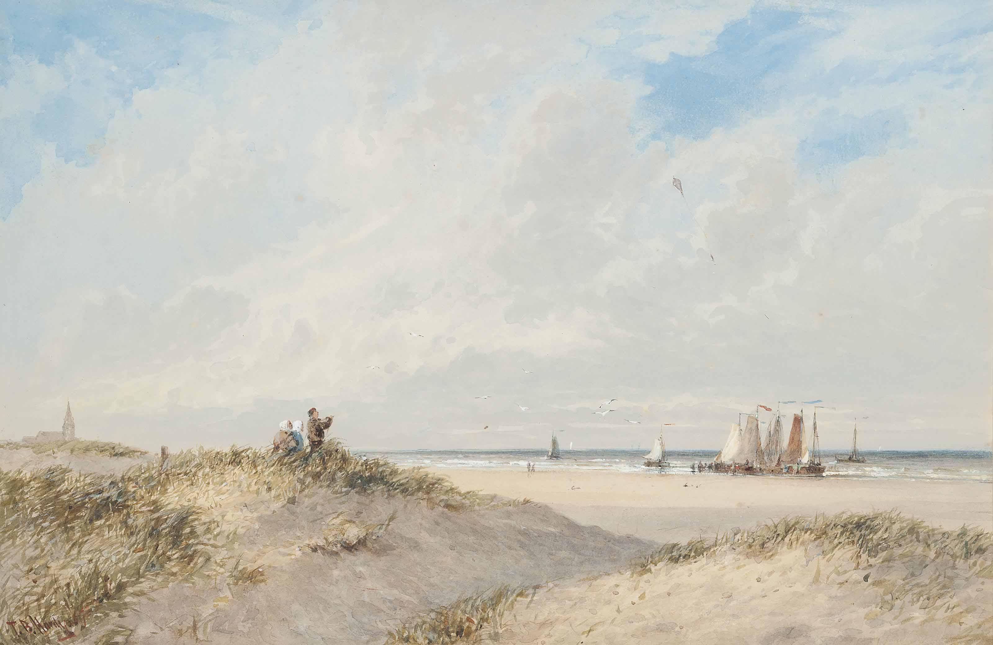 Kite flying on the coast near Scheveningen