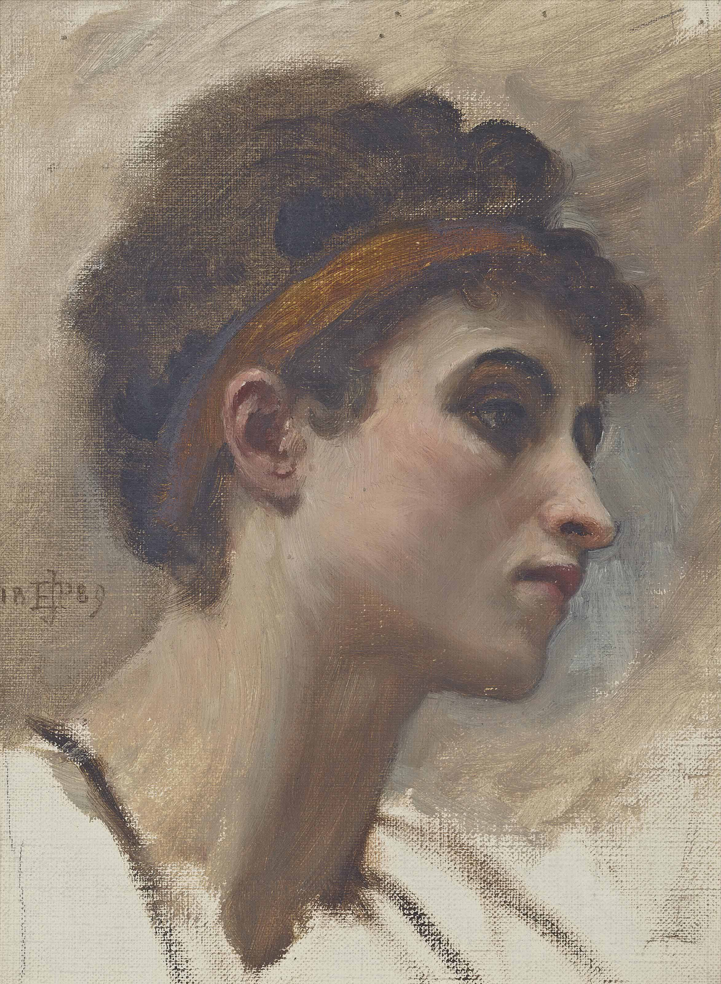 Head study of a young girl in profile