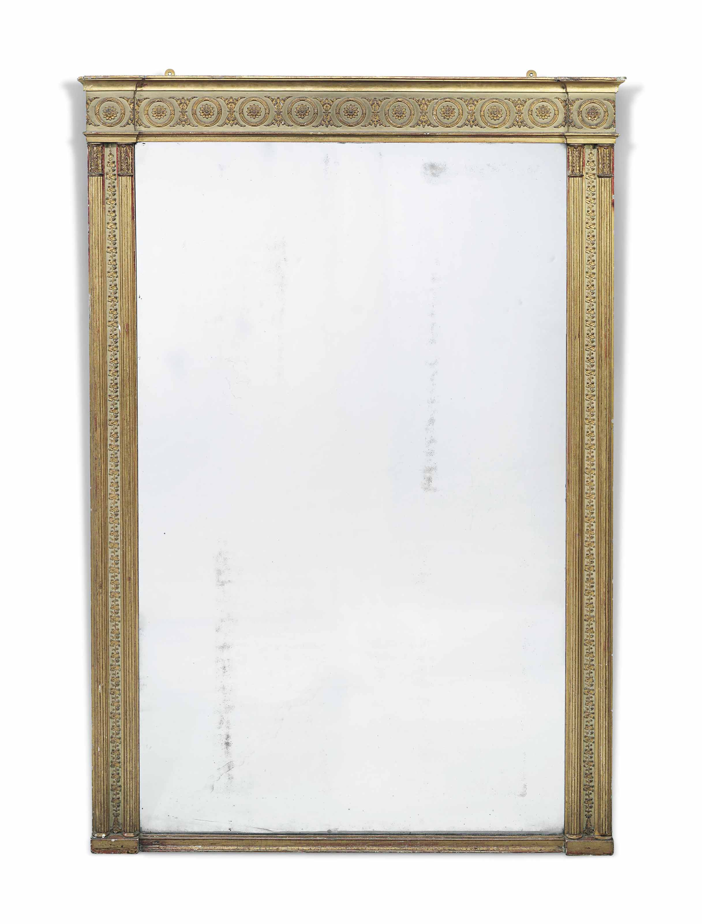 A REGENCY CREAM-PAINTED, GILTWOOD AND GILT-COMPOSITION OVERMANTEL MIRROR