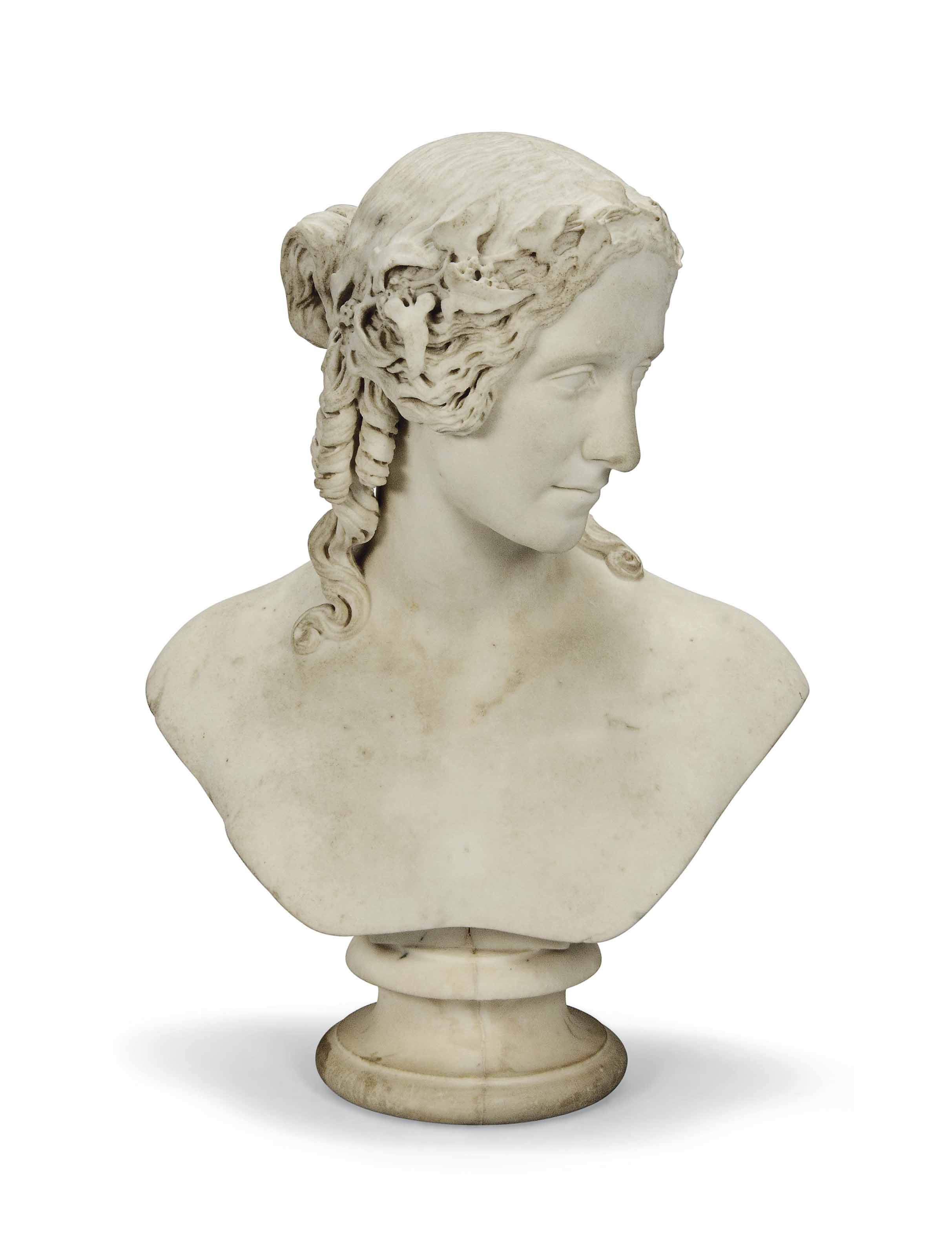 AN ENGLISH CARVED MARBLE BUST OF A LADY