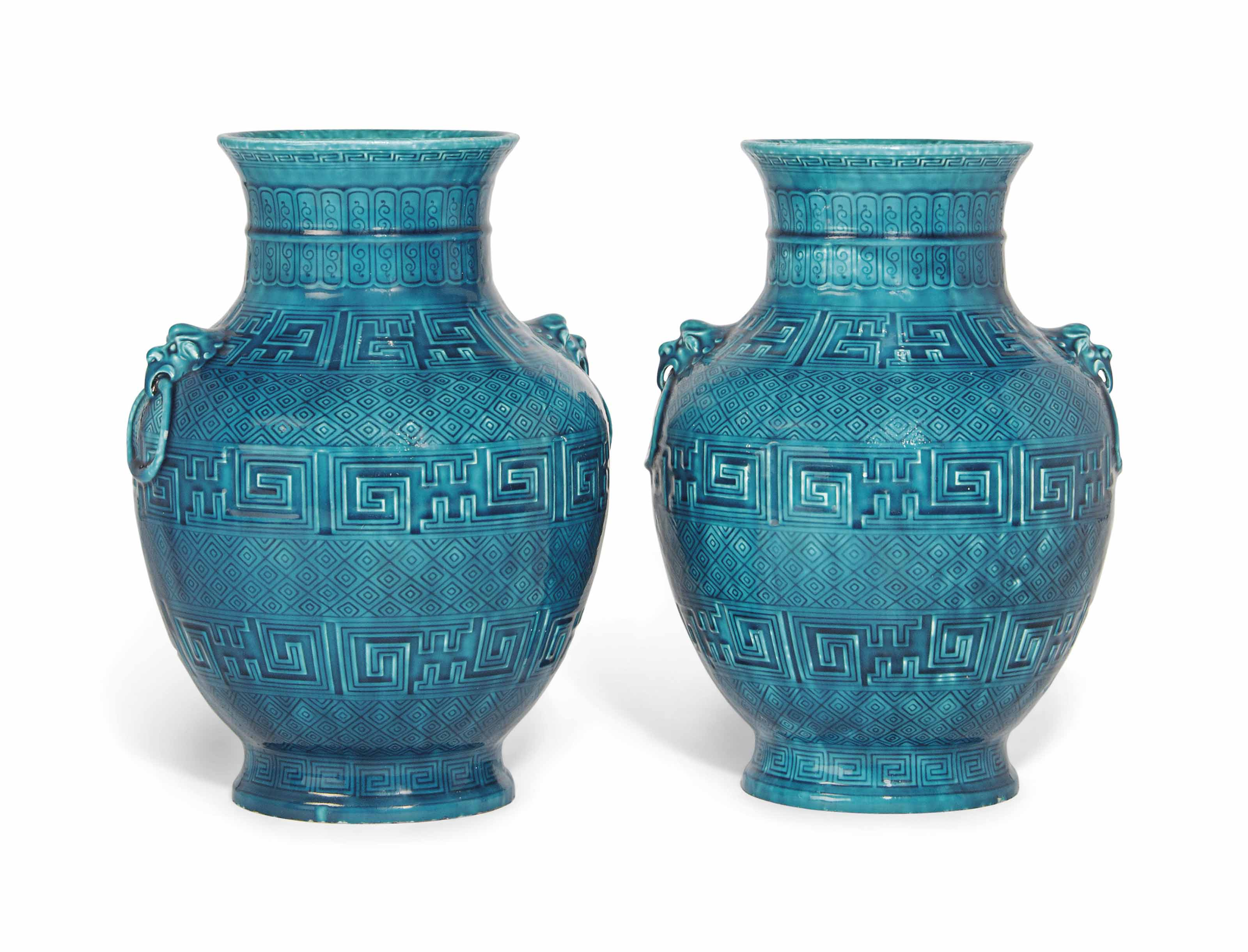 A PAIR OF THEODORE DECK TURQUOISE-GLAZED VASES