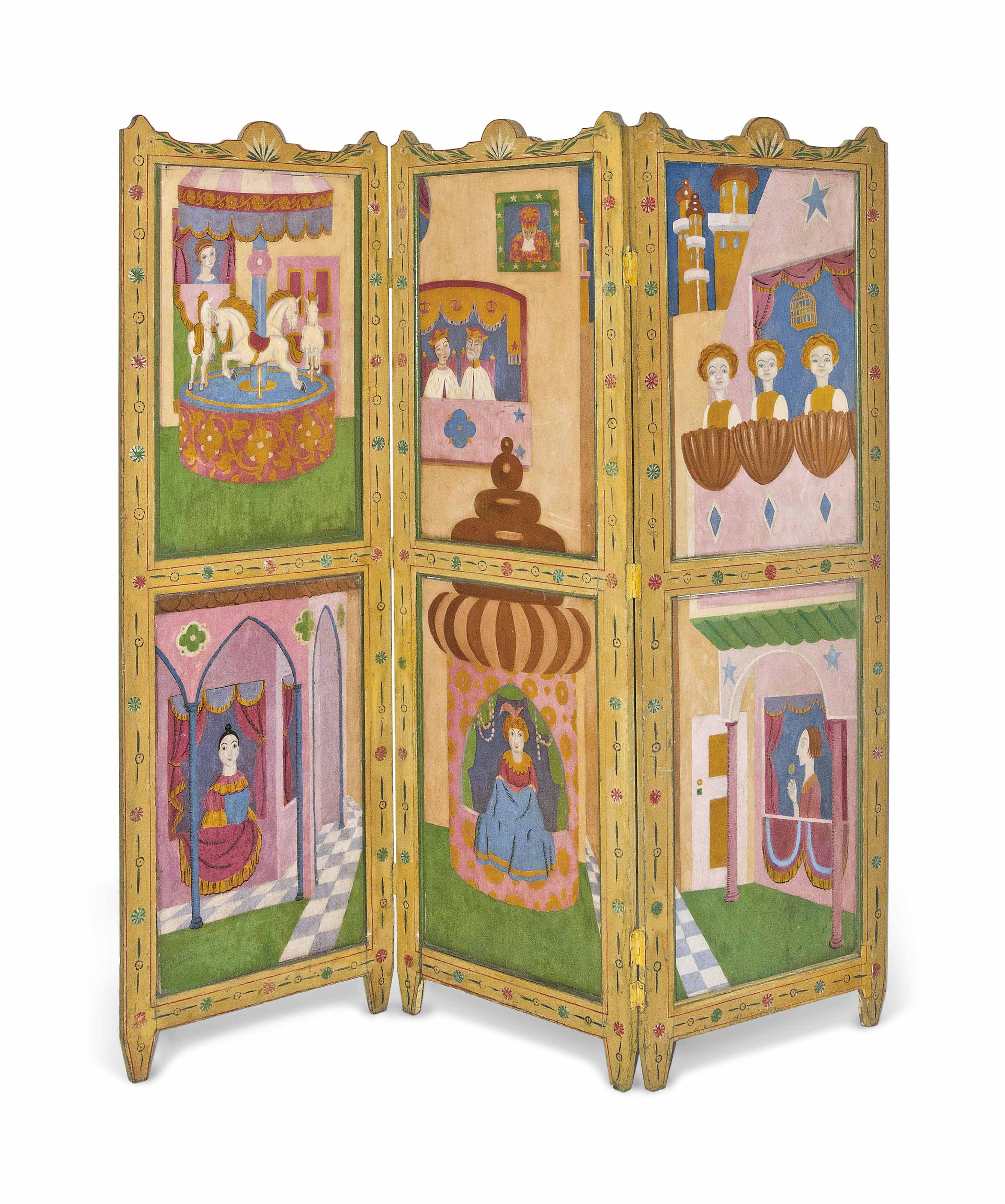 The Beggars Opera - A three-fold wooden screen with six inset panels and carved decoration