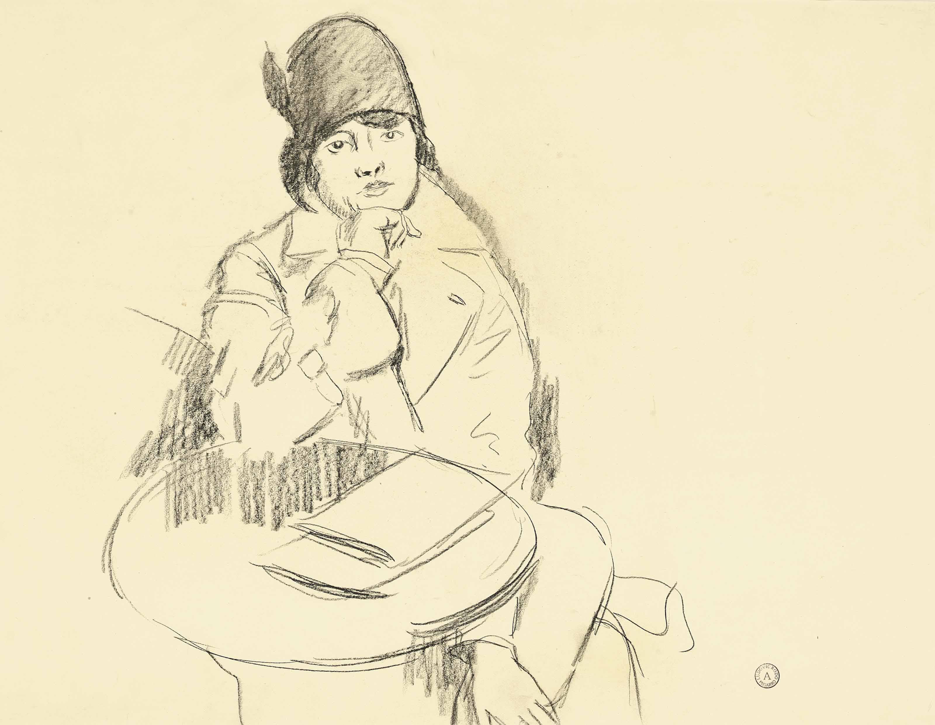 A study of a young lady wearing a hat, sitting at a a café table; and A study of a pair of elderly couples (one illustrated)