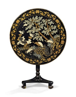 A GILT-DECORATED BLACK LACQUER