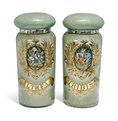A PAIR OF FRENCH GLASS PHARMAC