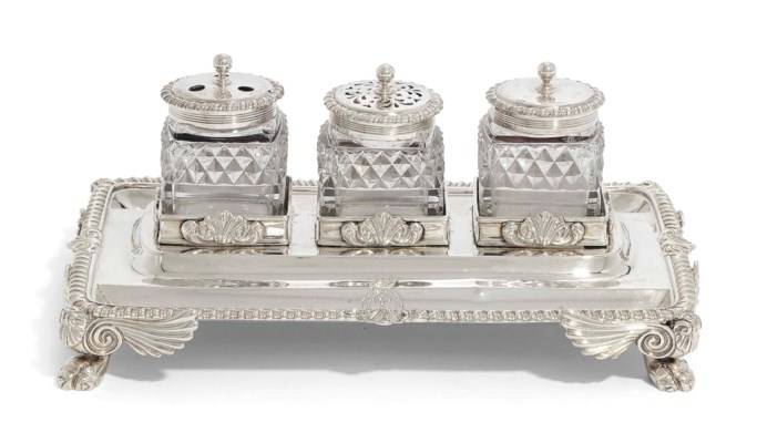 A GEORGE III SILVER OBLONG INK