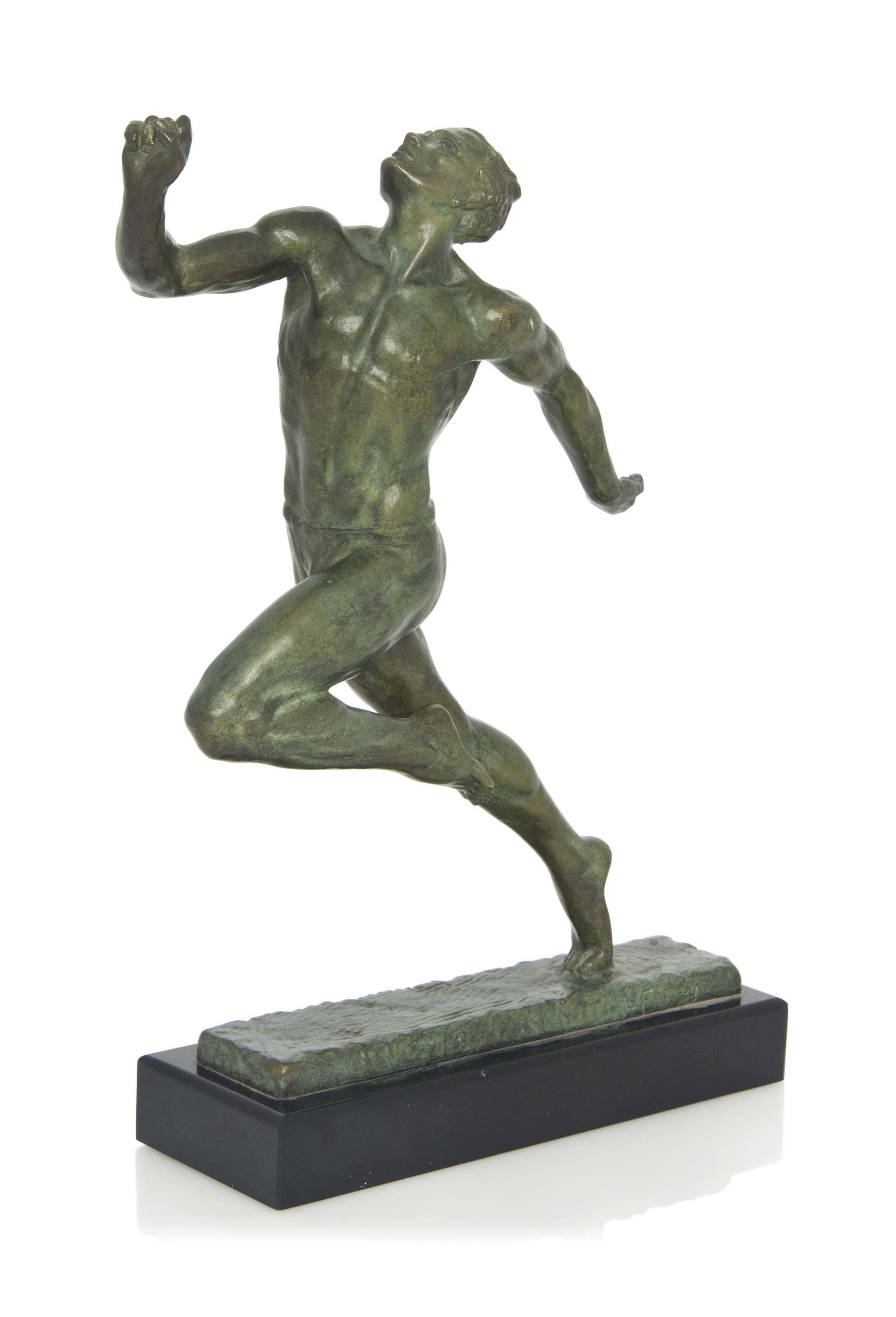 'THE SPRINTER ' A PIERRE LE FAGUAYS (1882-1935) COLD-PAINTED BRONZE FIGURE