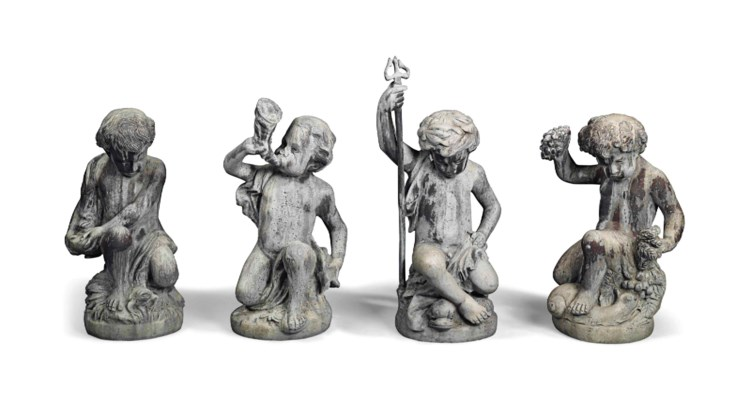 FOUR LEAD PUTTO EMBLEMATIC OF